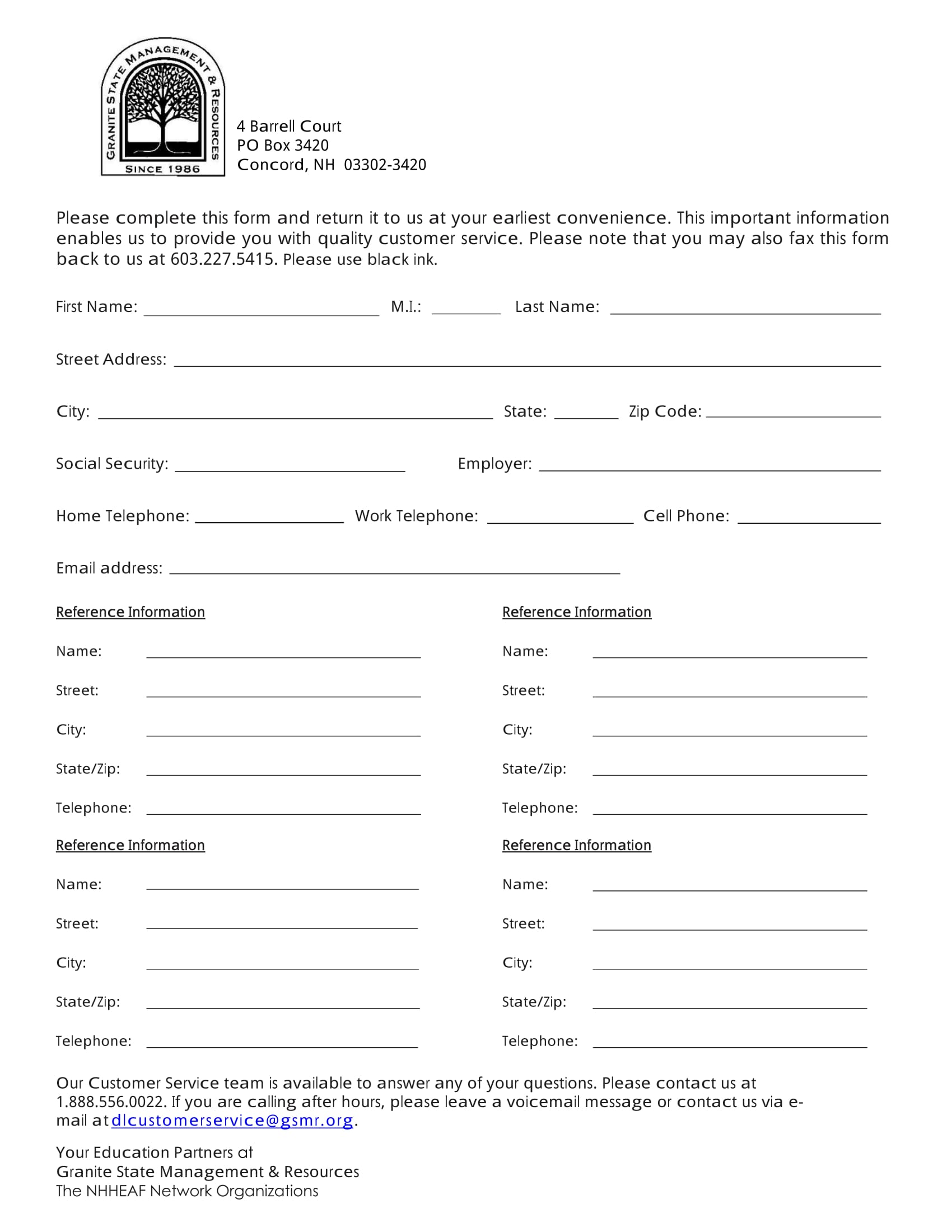 Client Contact Information Form  Customer Contact Information Form