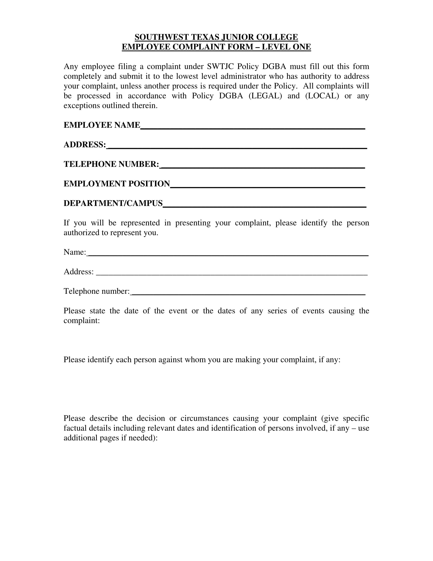 college employee complaint form 1