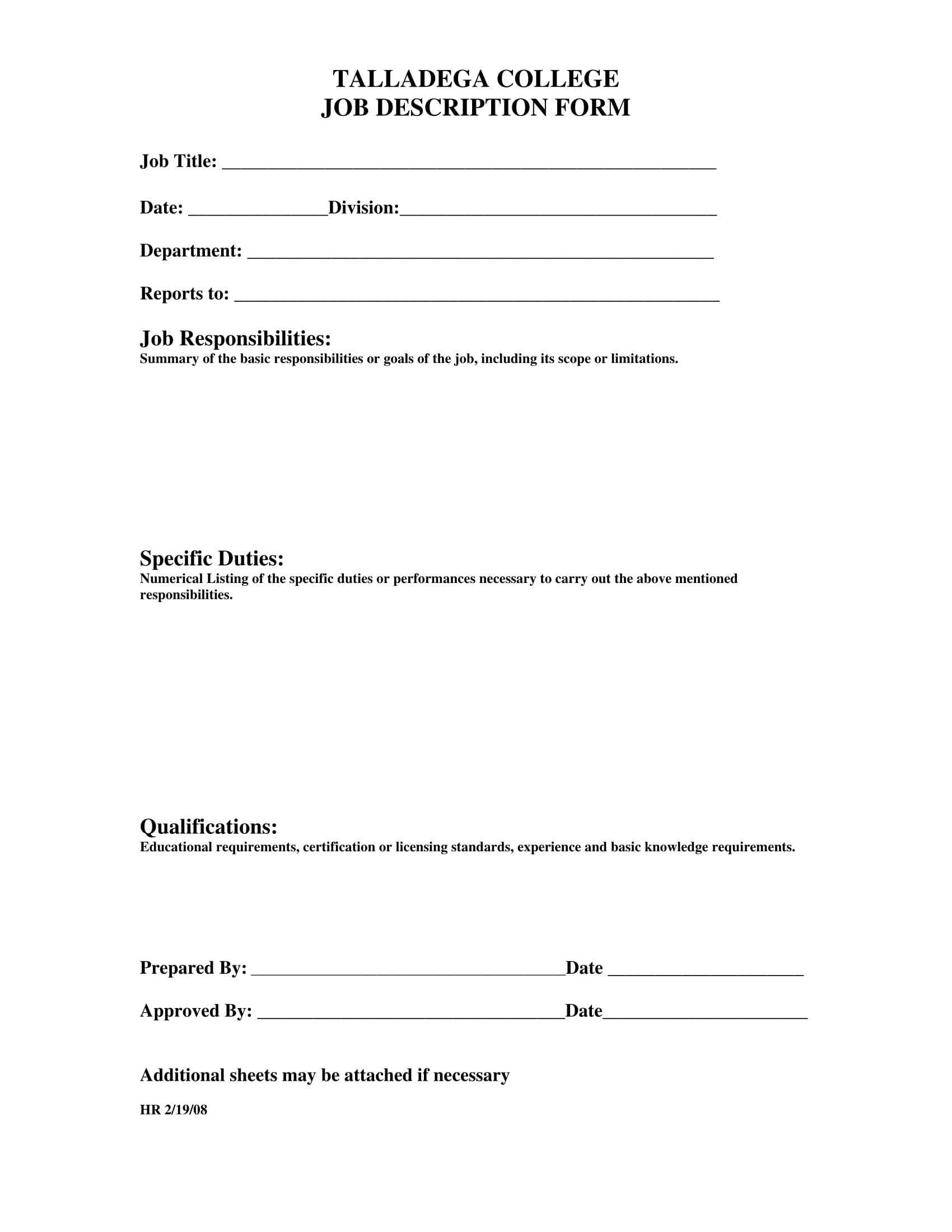 college job description form 1