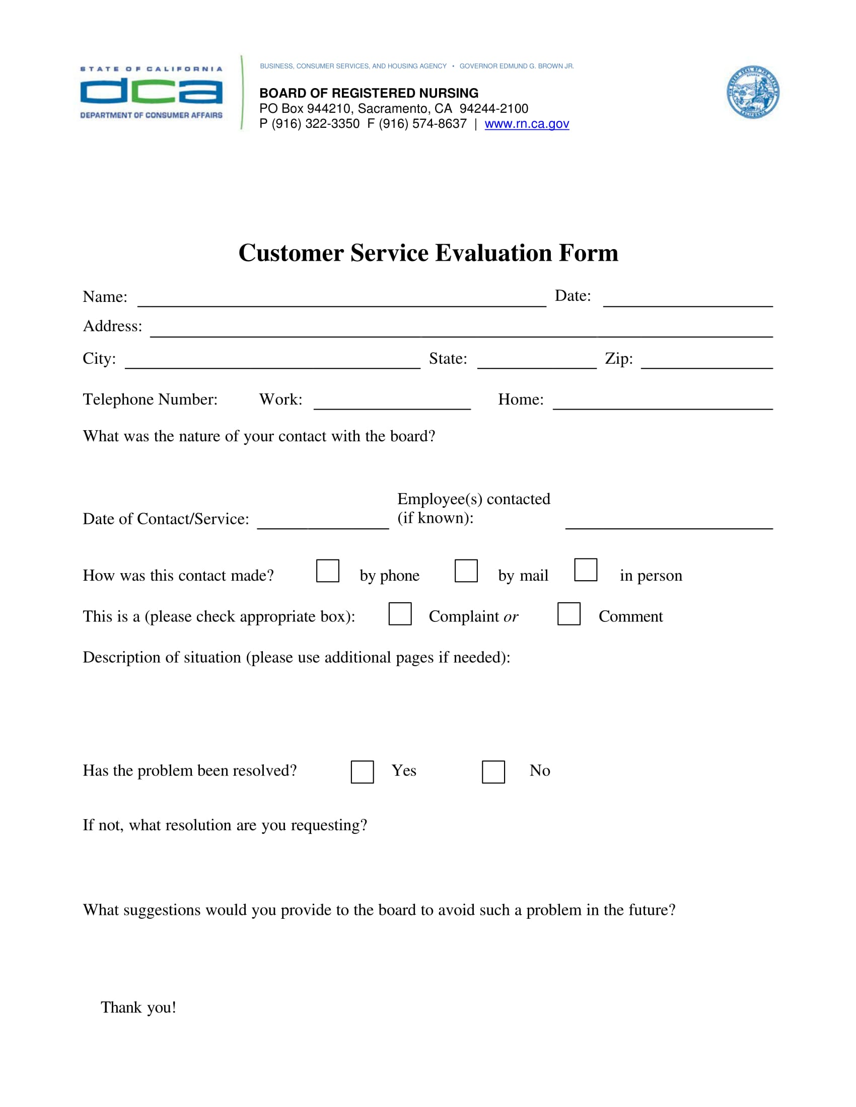 consumer customer service evaluation form 1