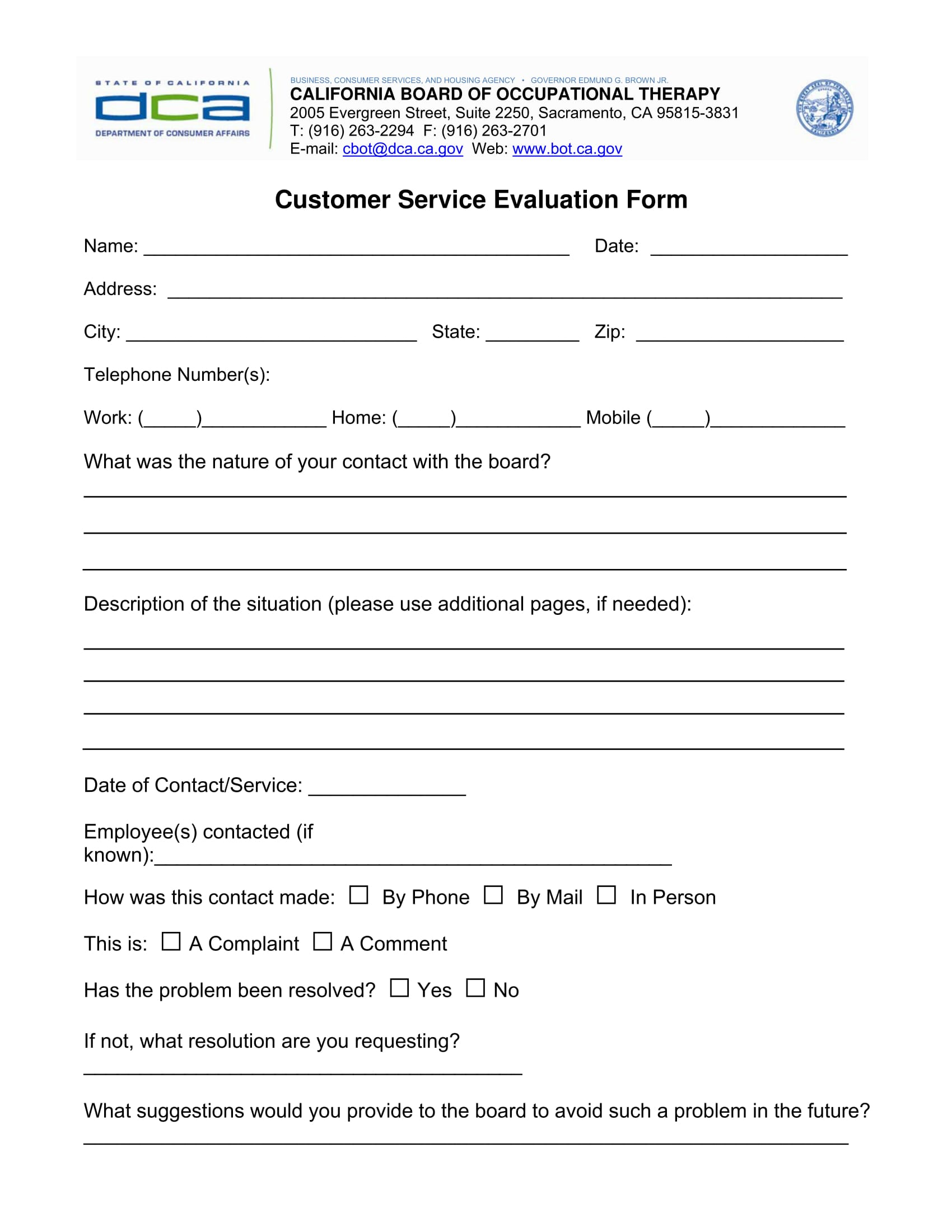 customer service evaluation form sample 1