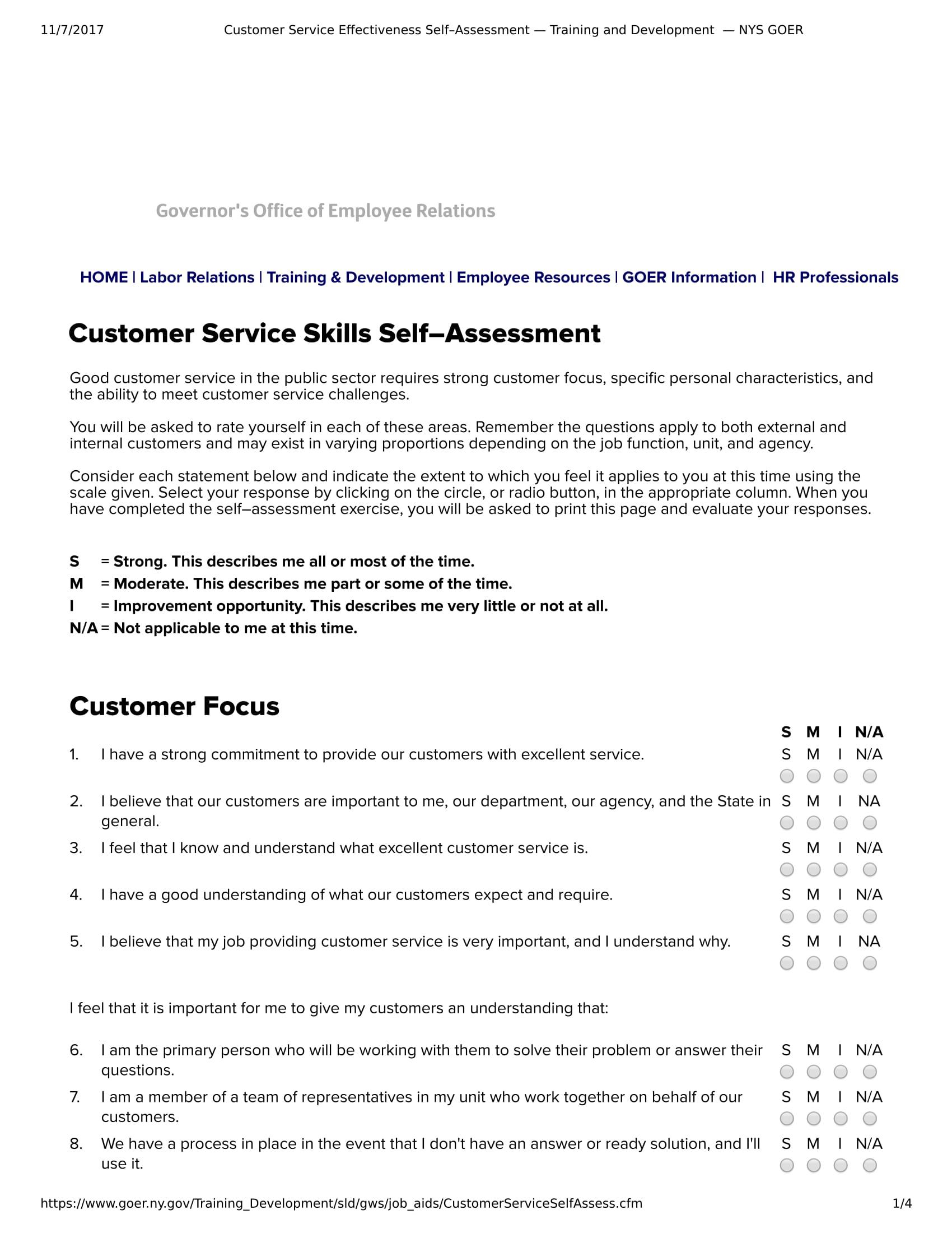 customer service self assessment evaluation form 1