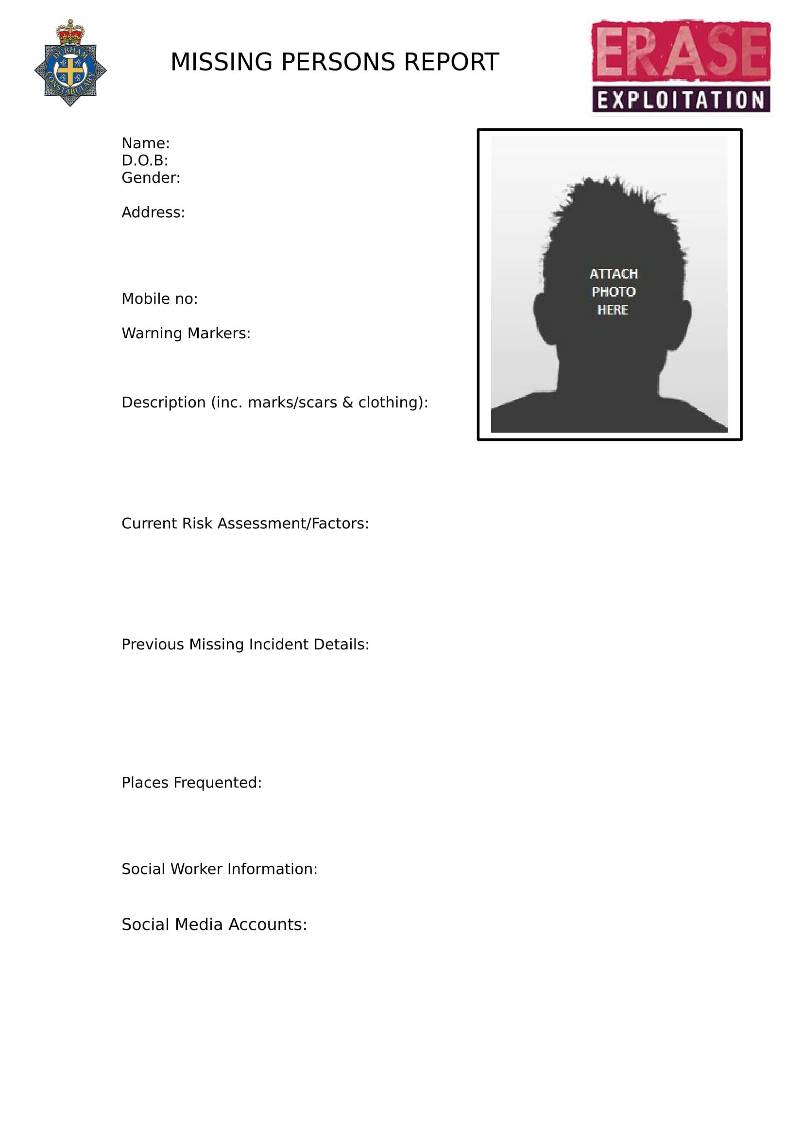 descriptive missing report form 2