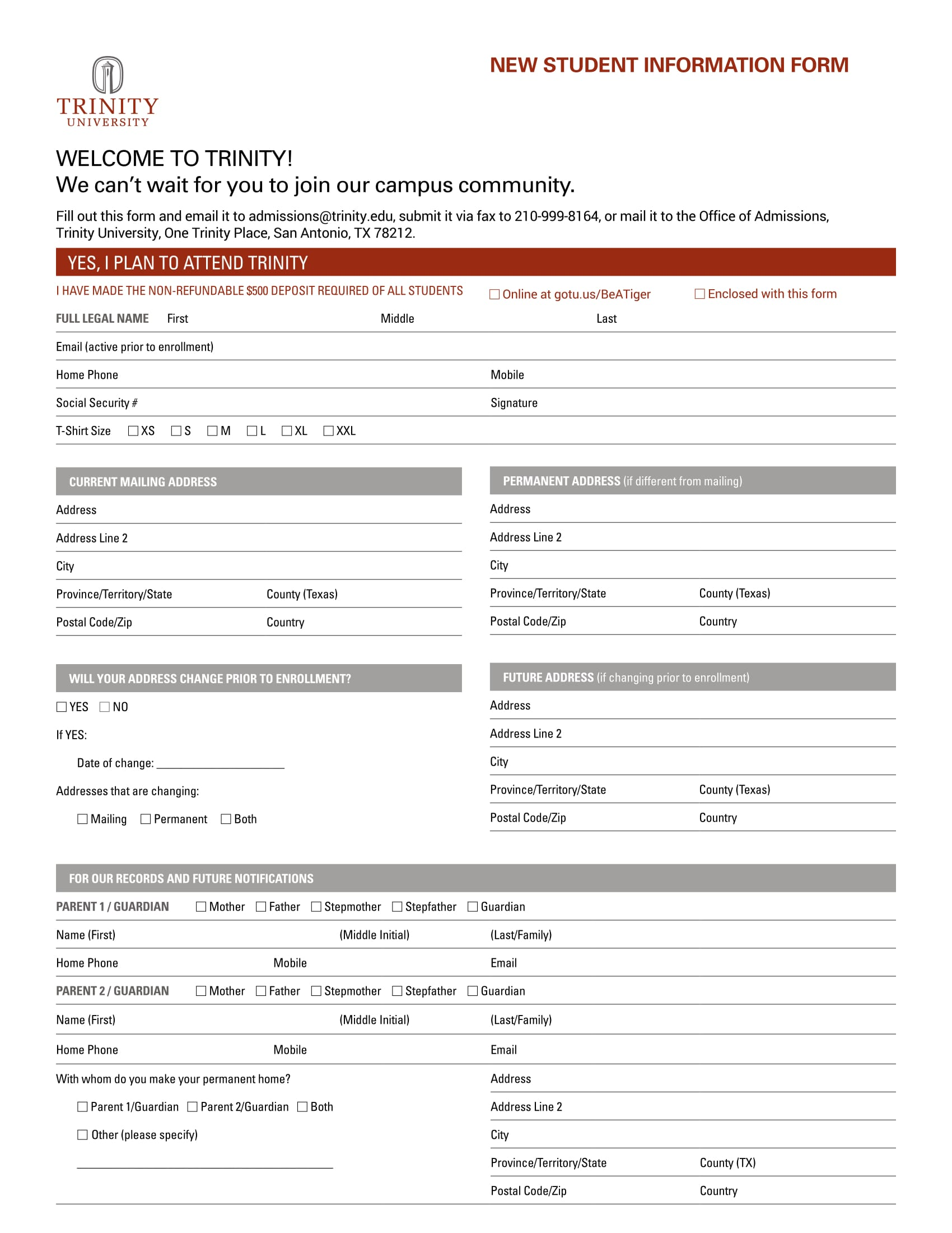 detailed new student information form 1