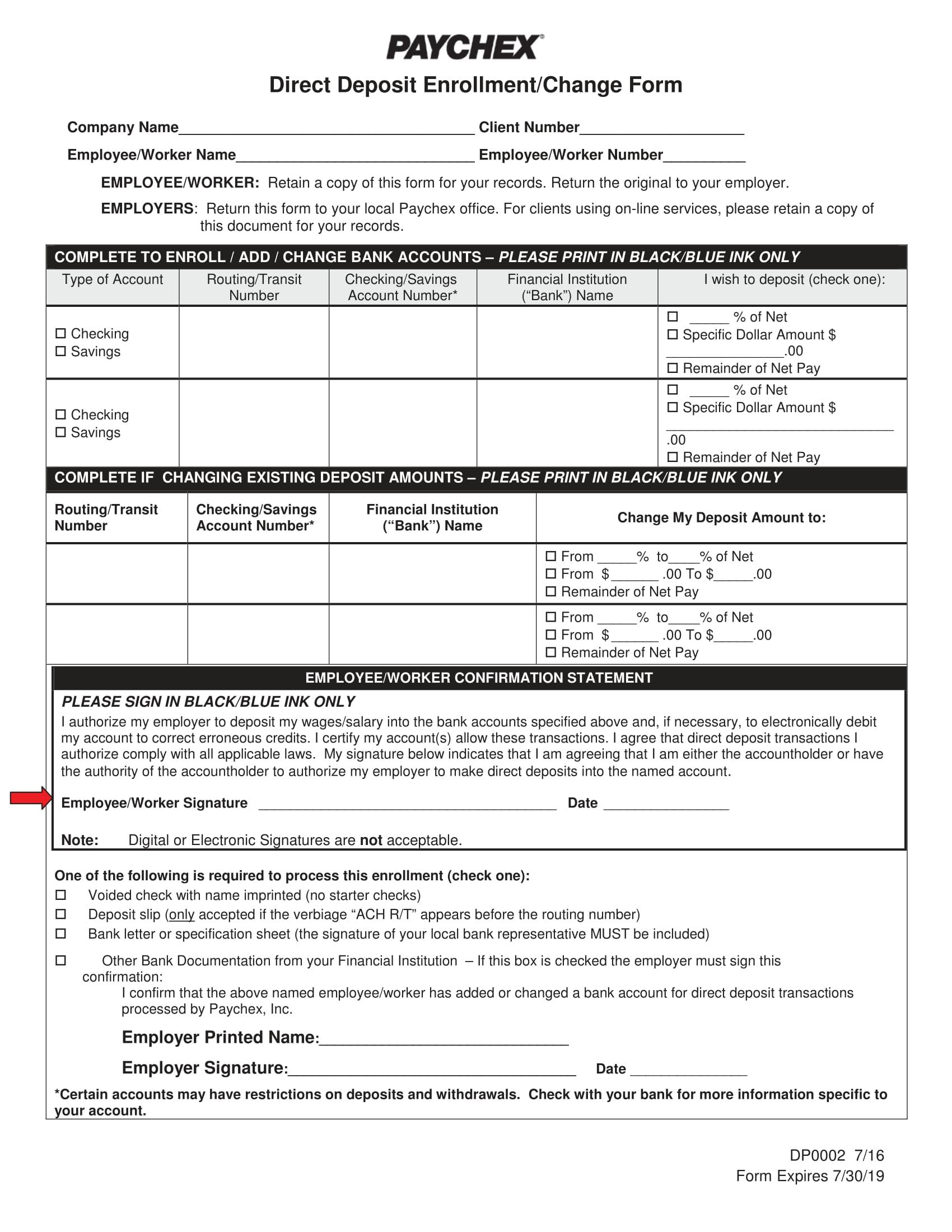 direct deposit enrollment change form 1