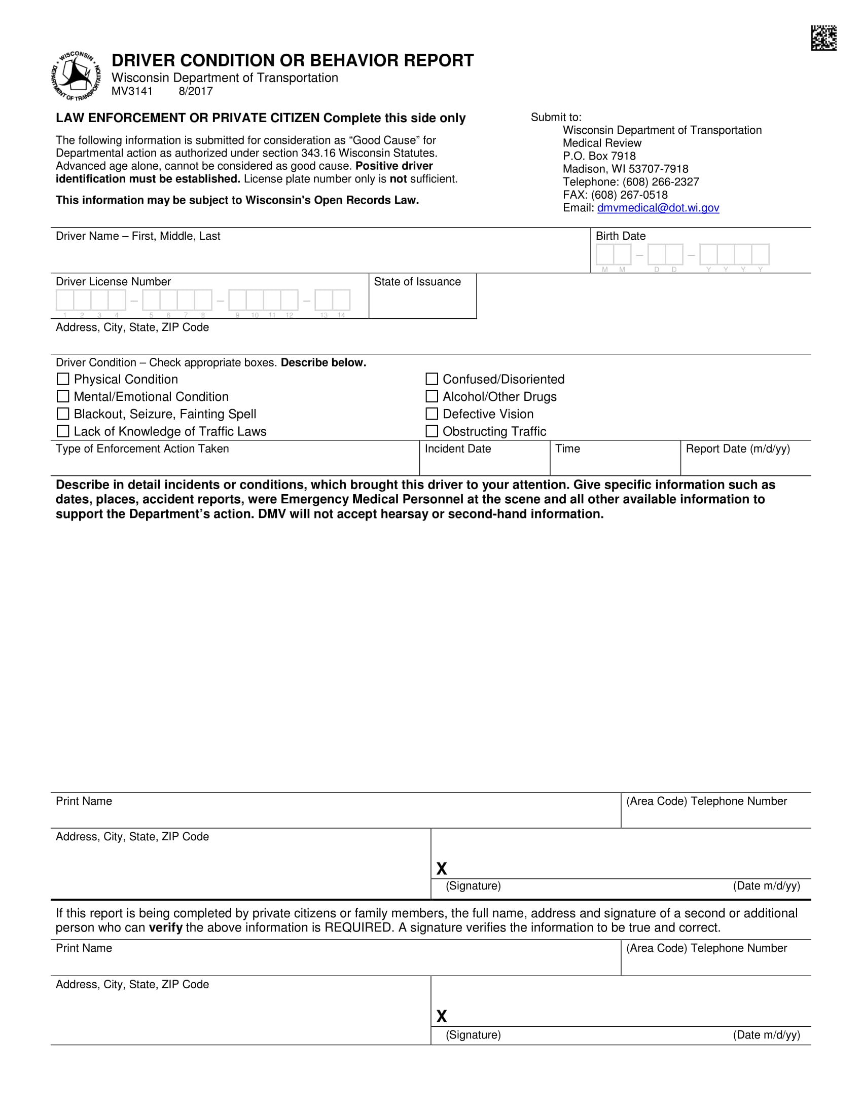 driver condition or behavior report form 1