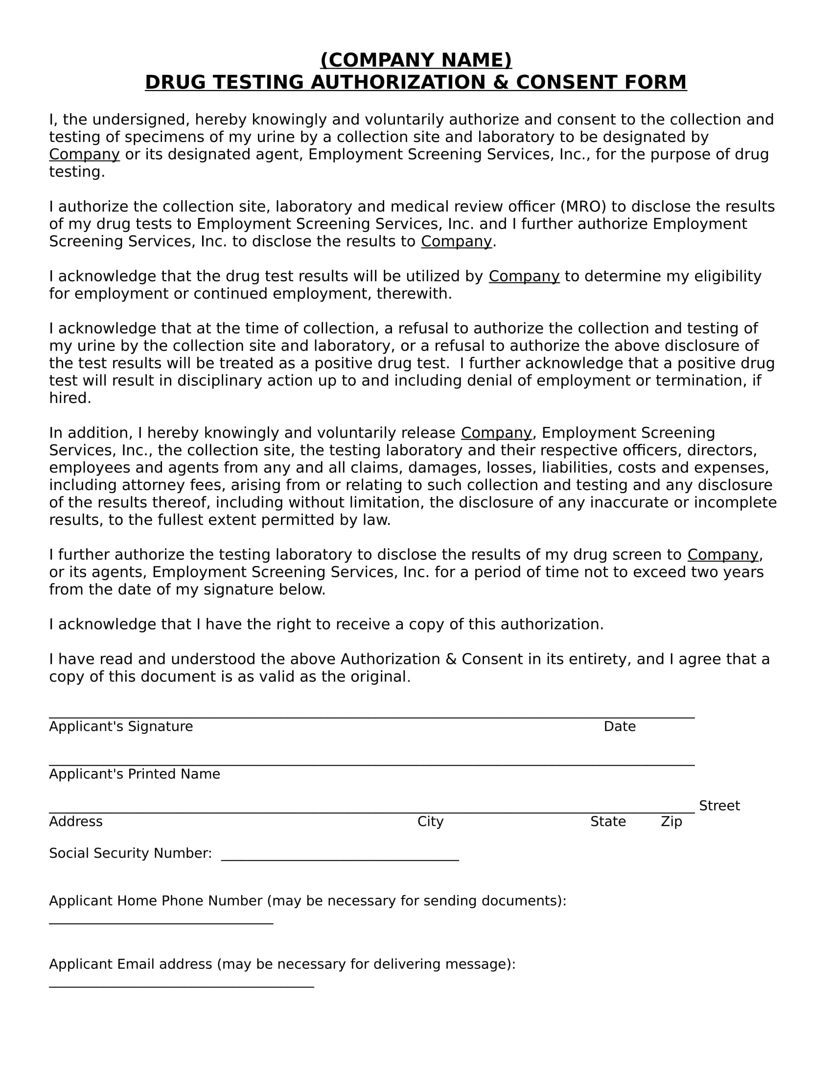 drug test authorization consent form 1