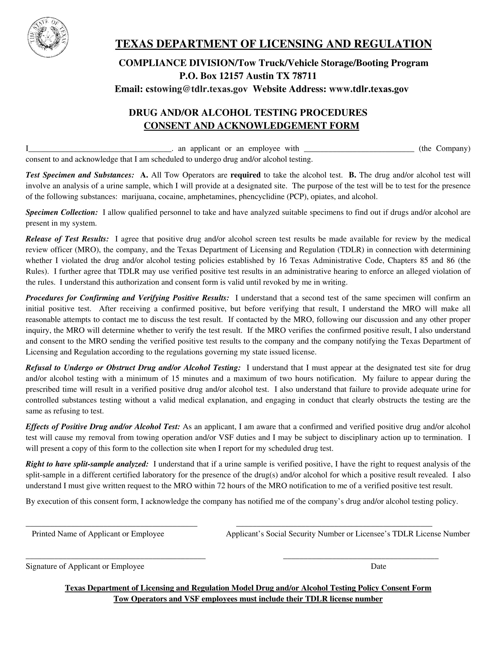 alcohol and drug abuse policy template - 14 drug testing consent forms free pdf format download