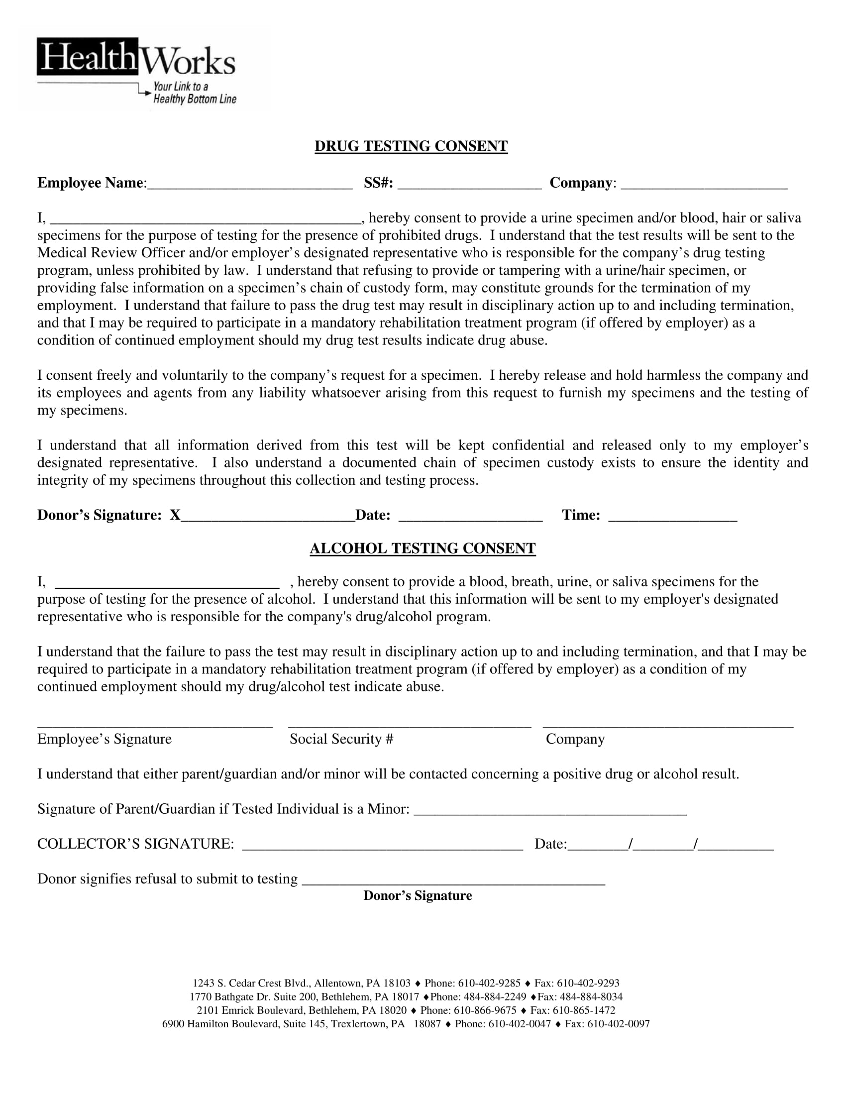drug testing consent form sample 1