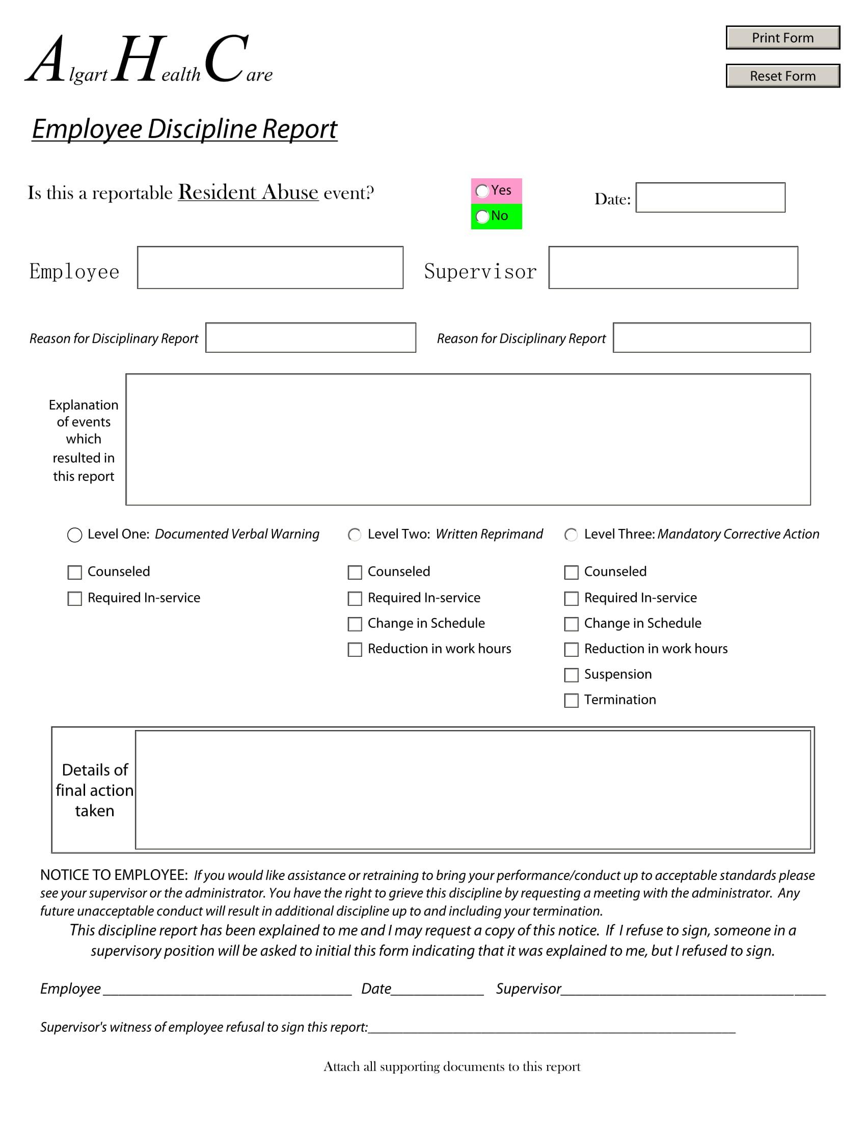 editable employee disciplinary report 1