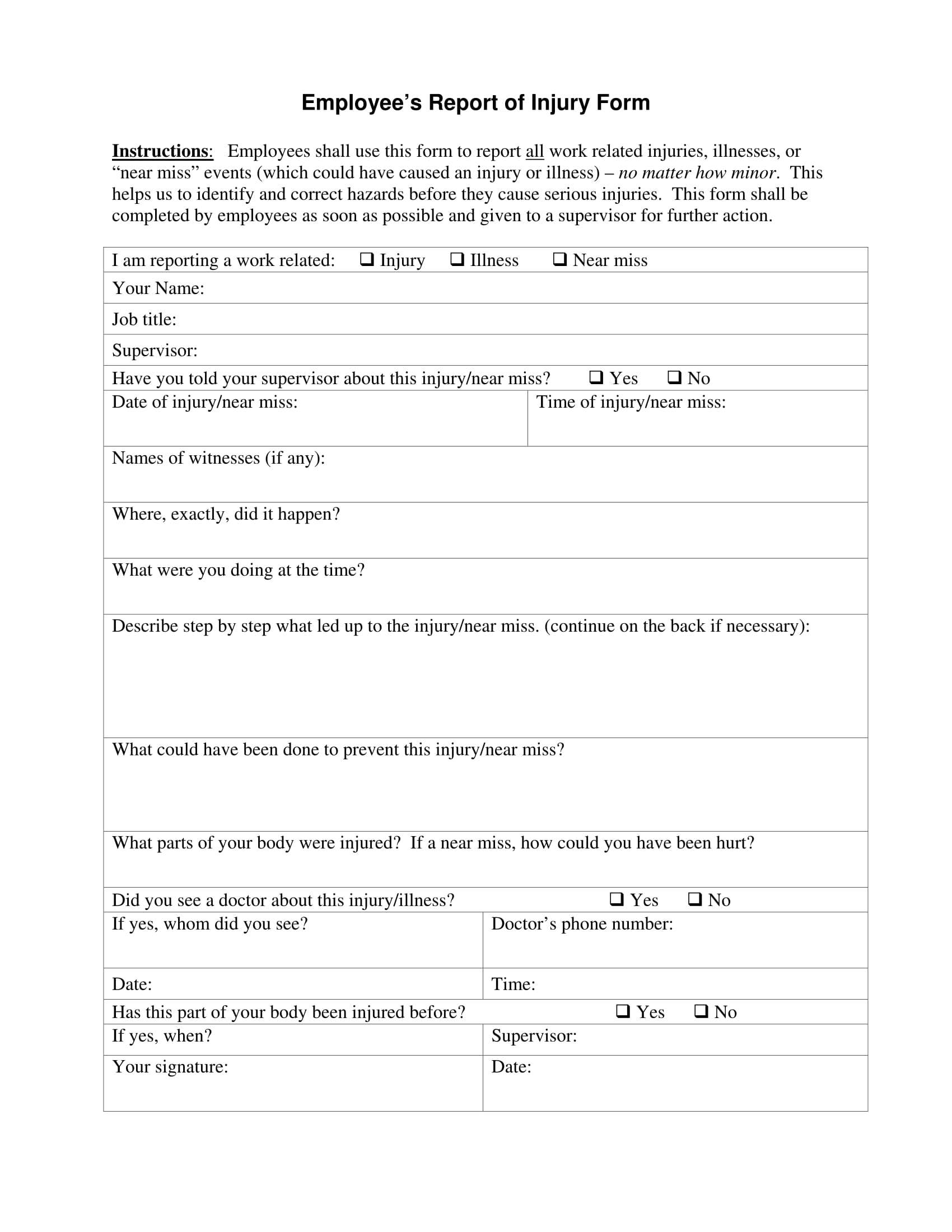 employee's report of injury form 1