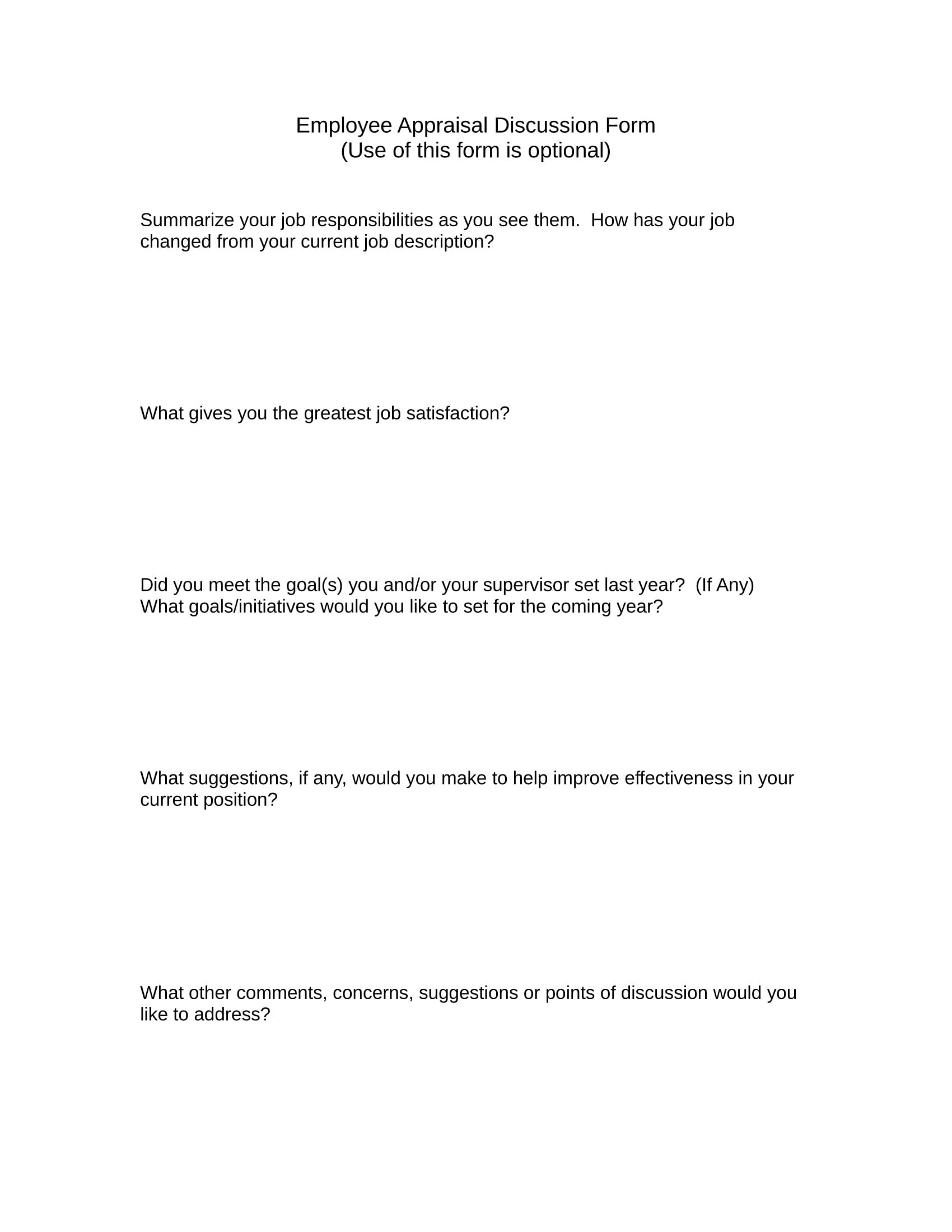 employee appraisal discussion form 1