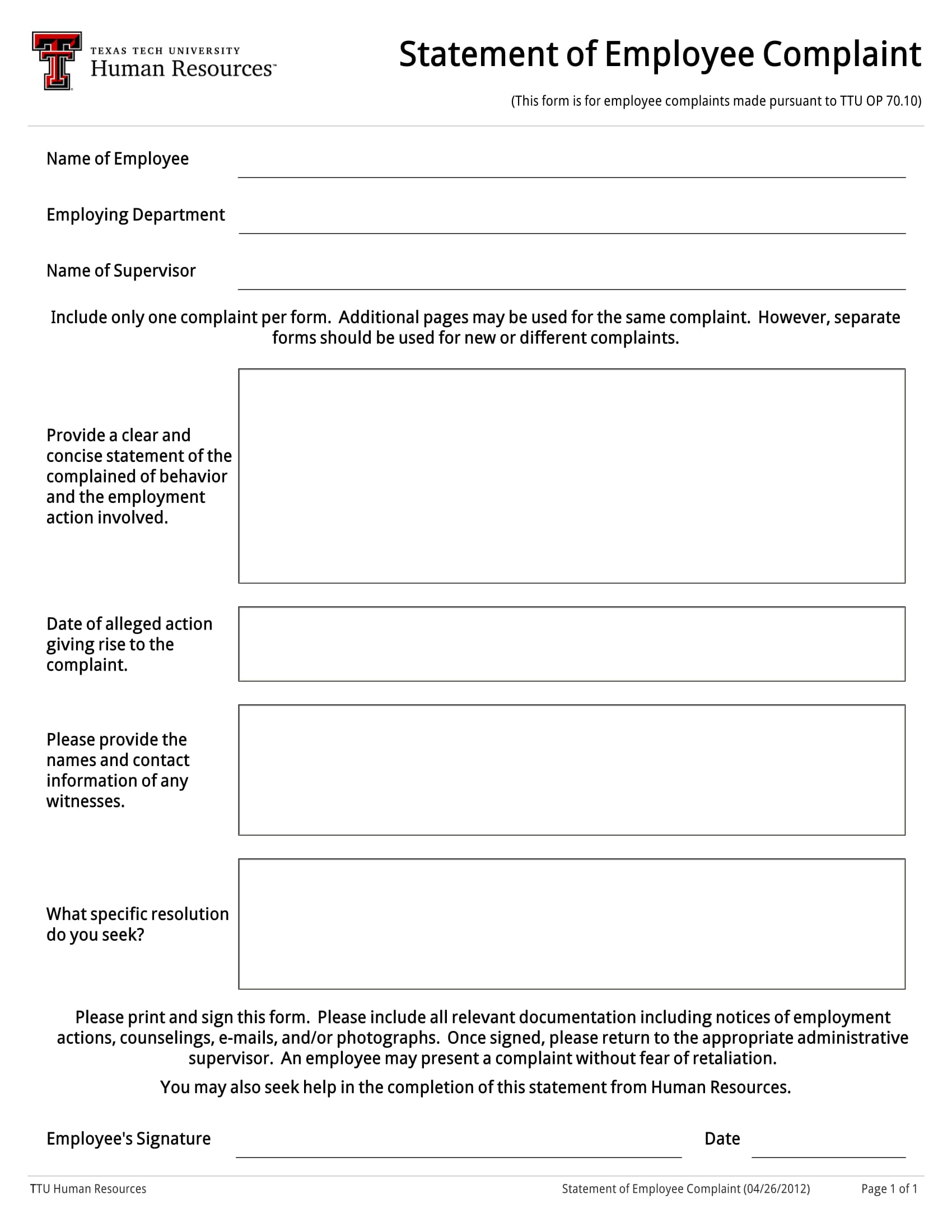 employee complaint statement form 1