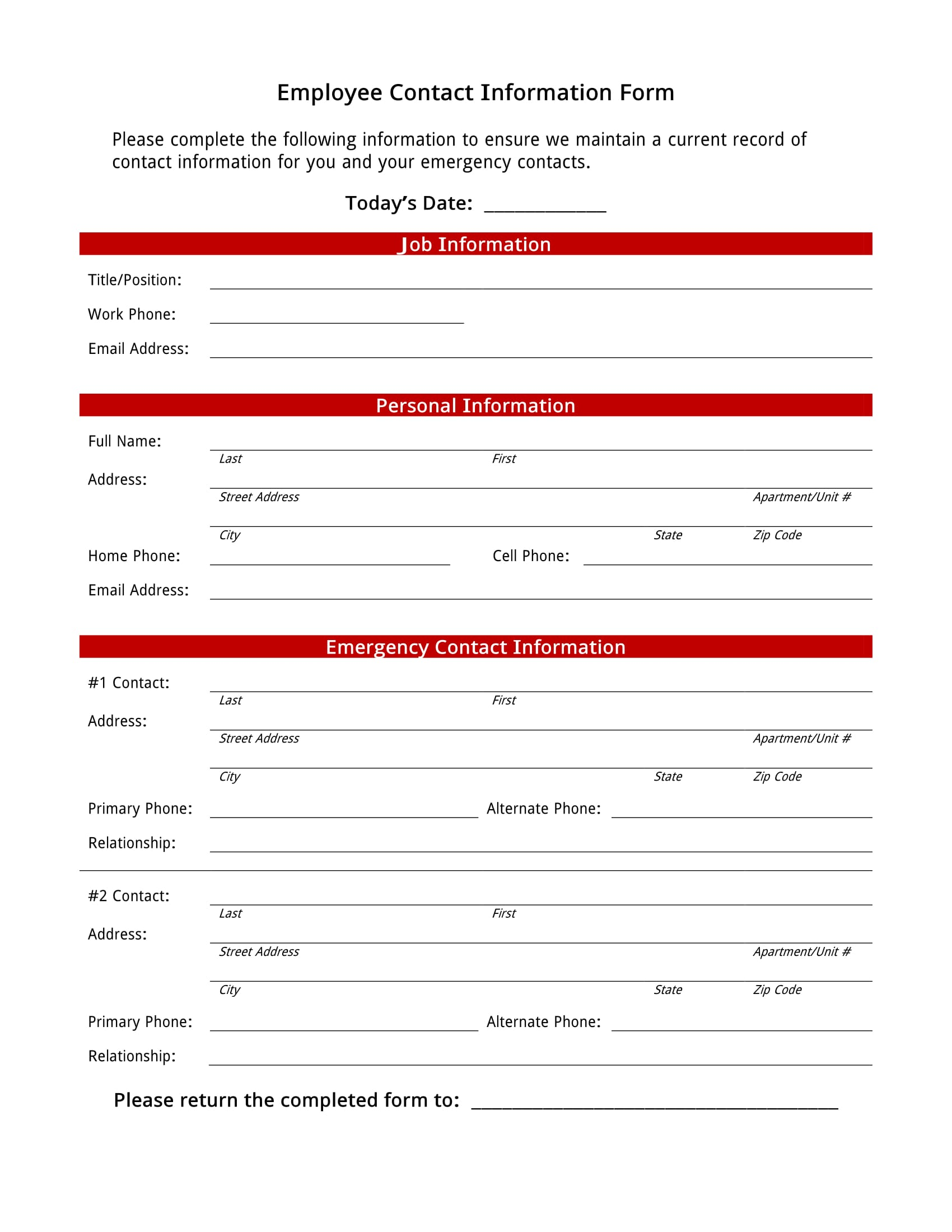 employee contact information form 1