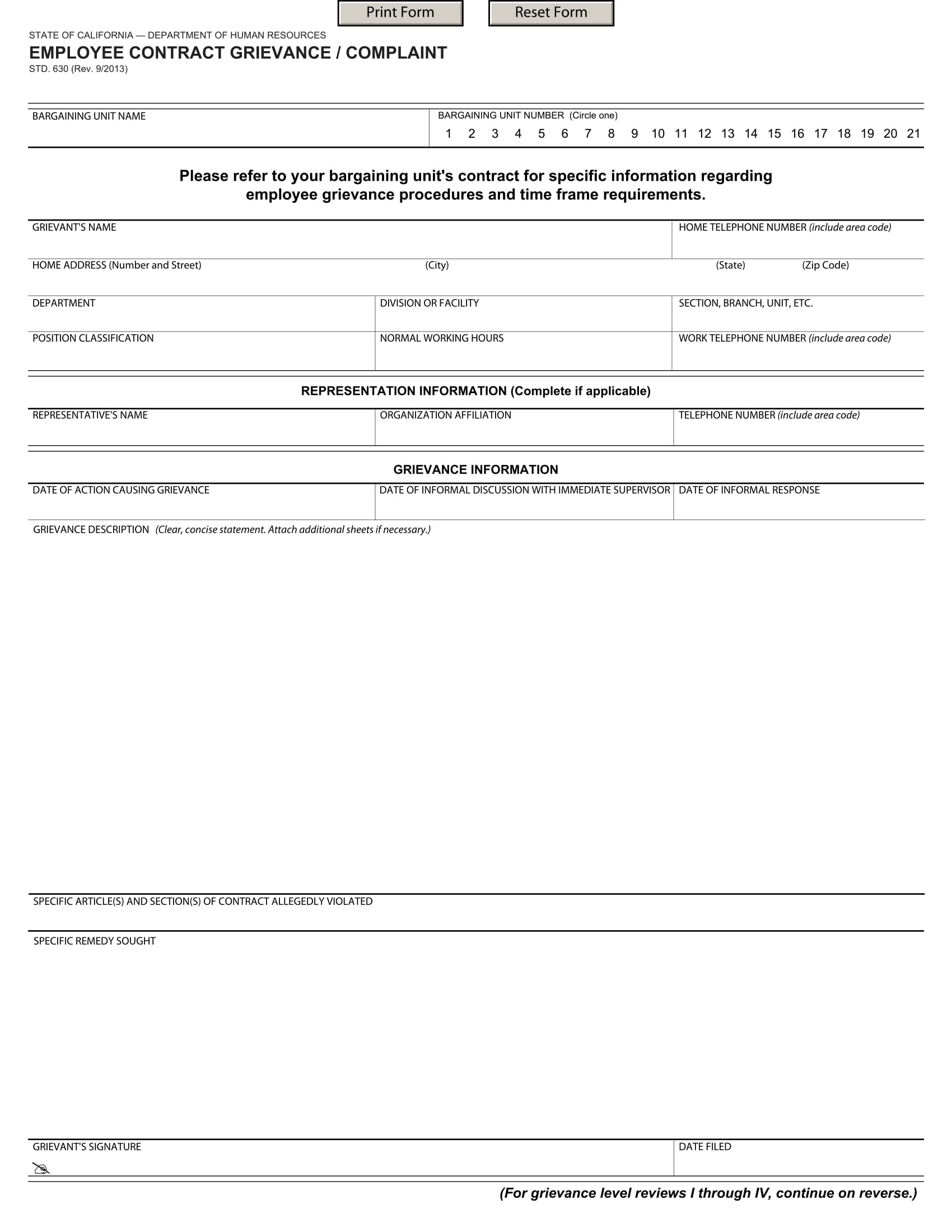 employee contract grievance complaint form 1