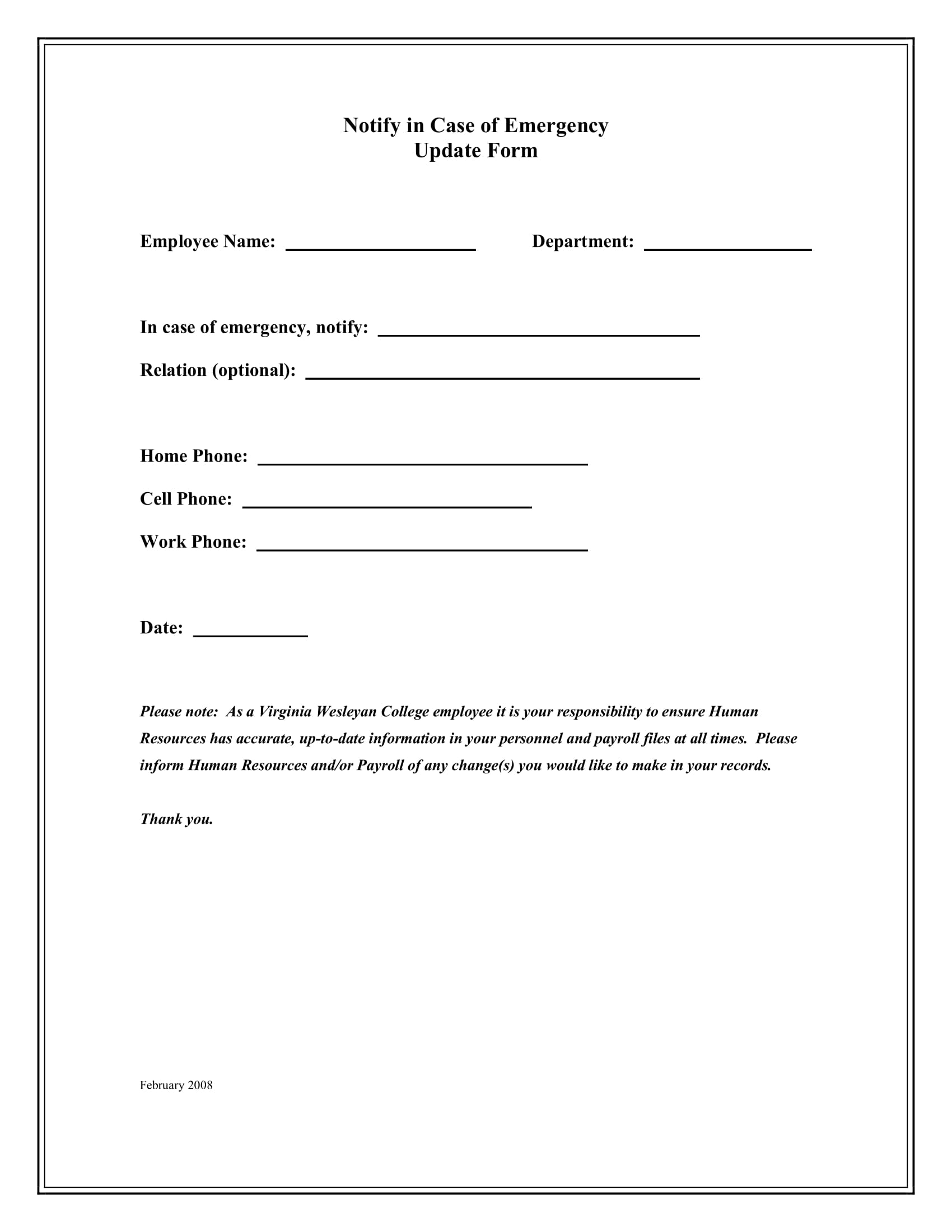 9 employee emergency notification forms templates pdf for Emergency message templates