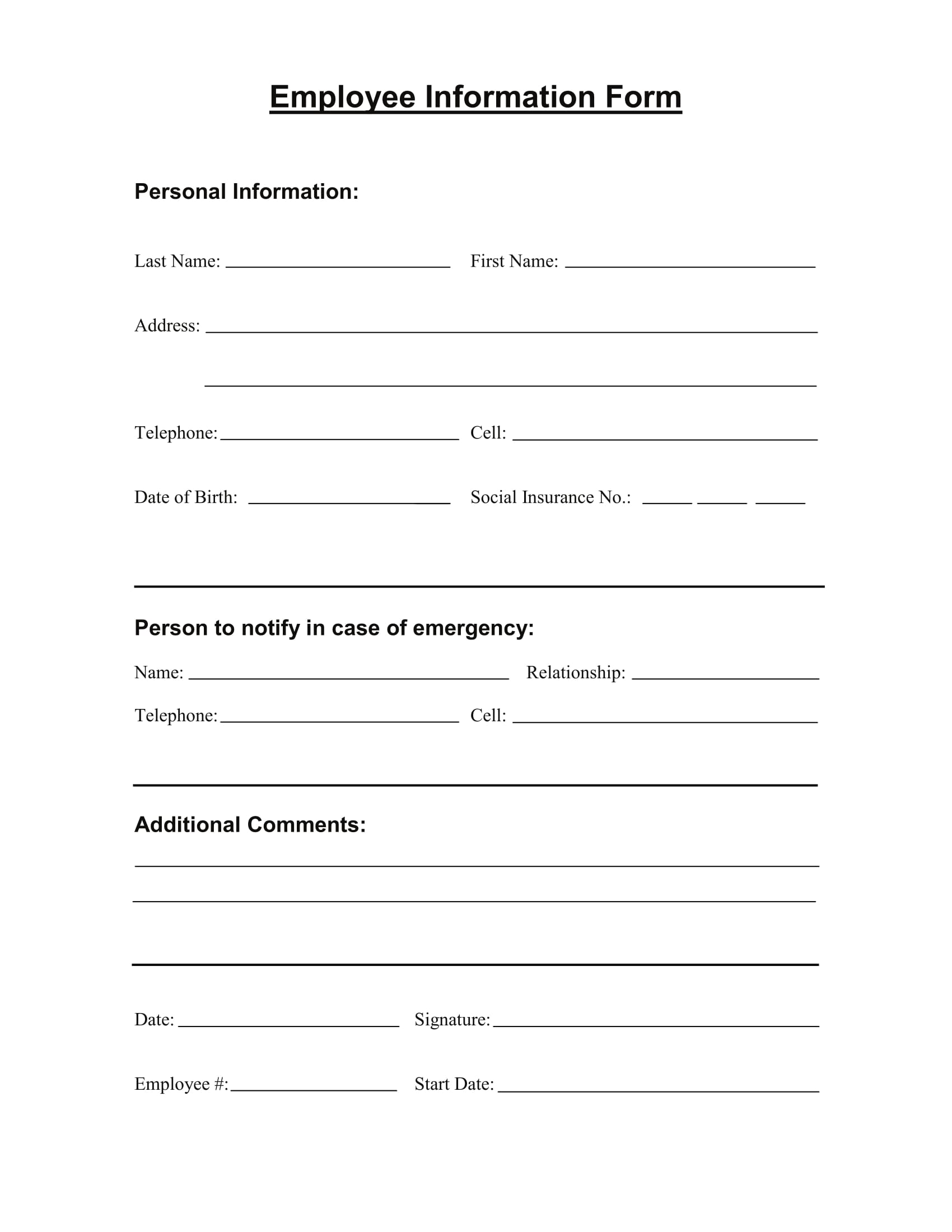 Delightful Employee Information Form Sample 1 Inside Employee Information Form Sample