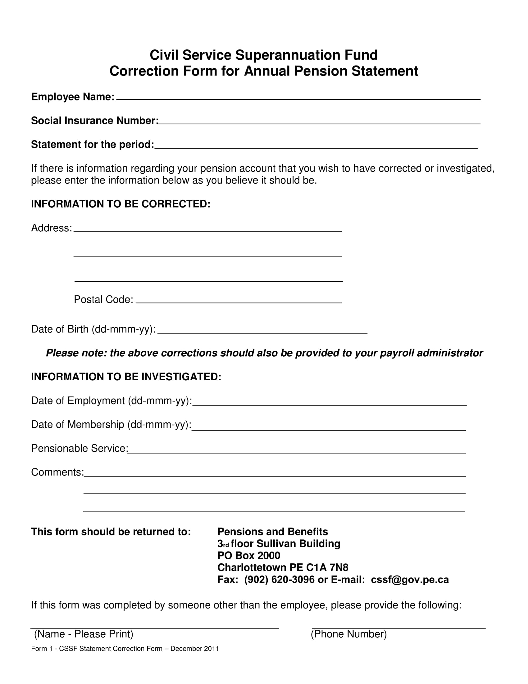 employee pension statement correction form 1