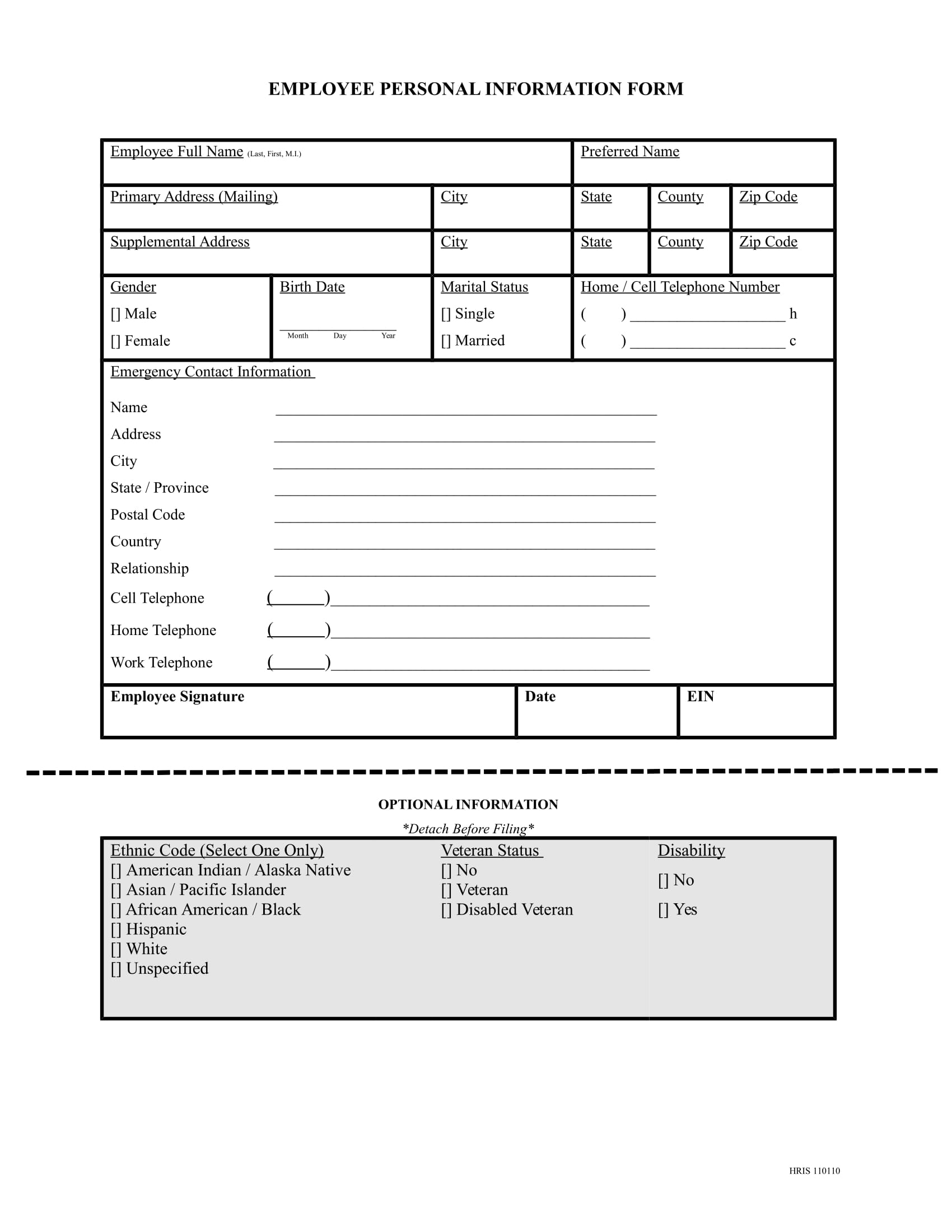 employee personal information form 1