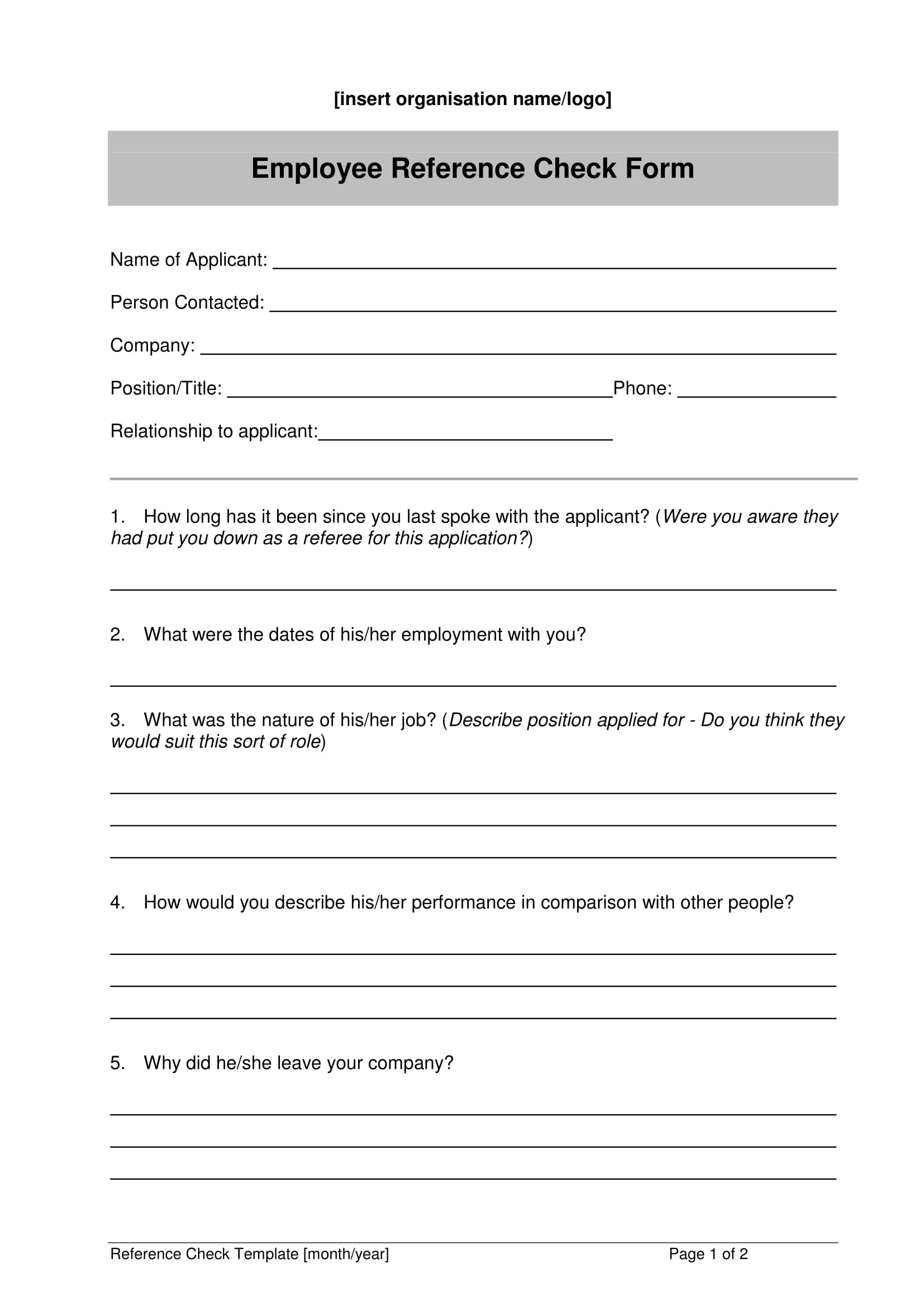 employee reference check form 1