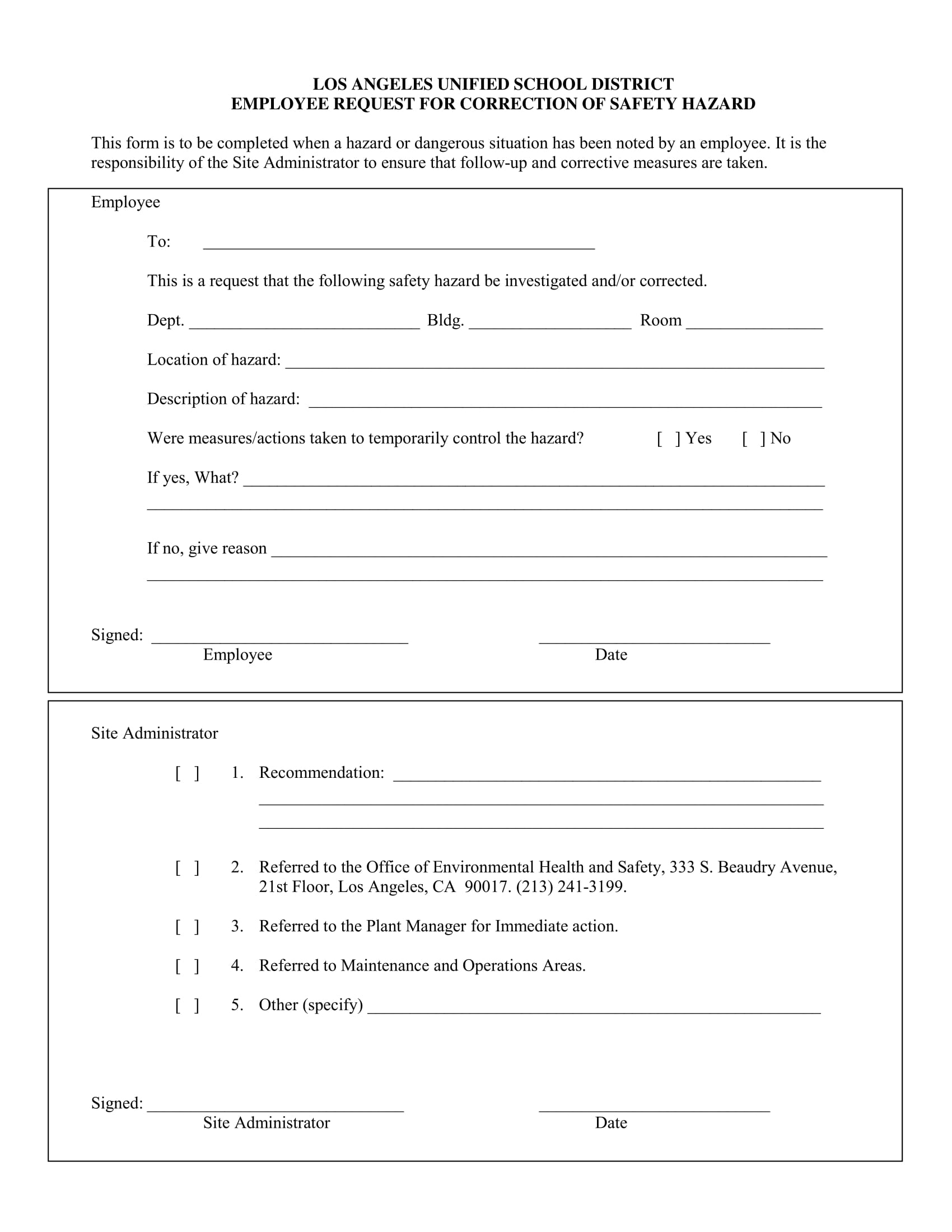 employee safety hazard correction form 1