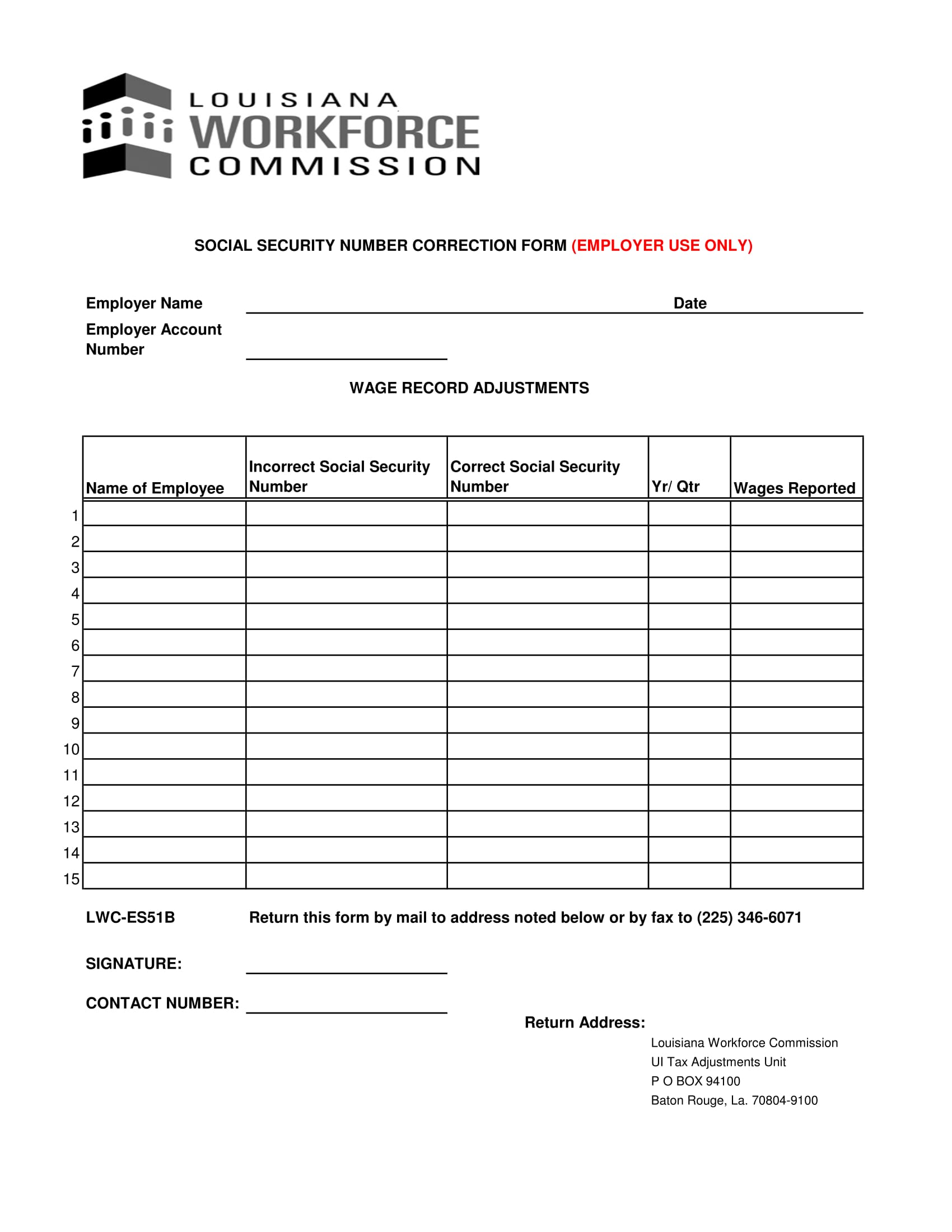 employee social security number correction form 1