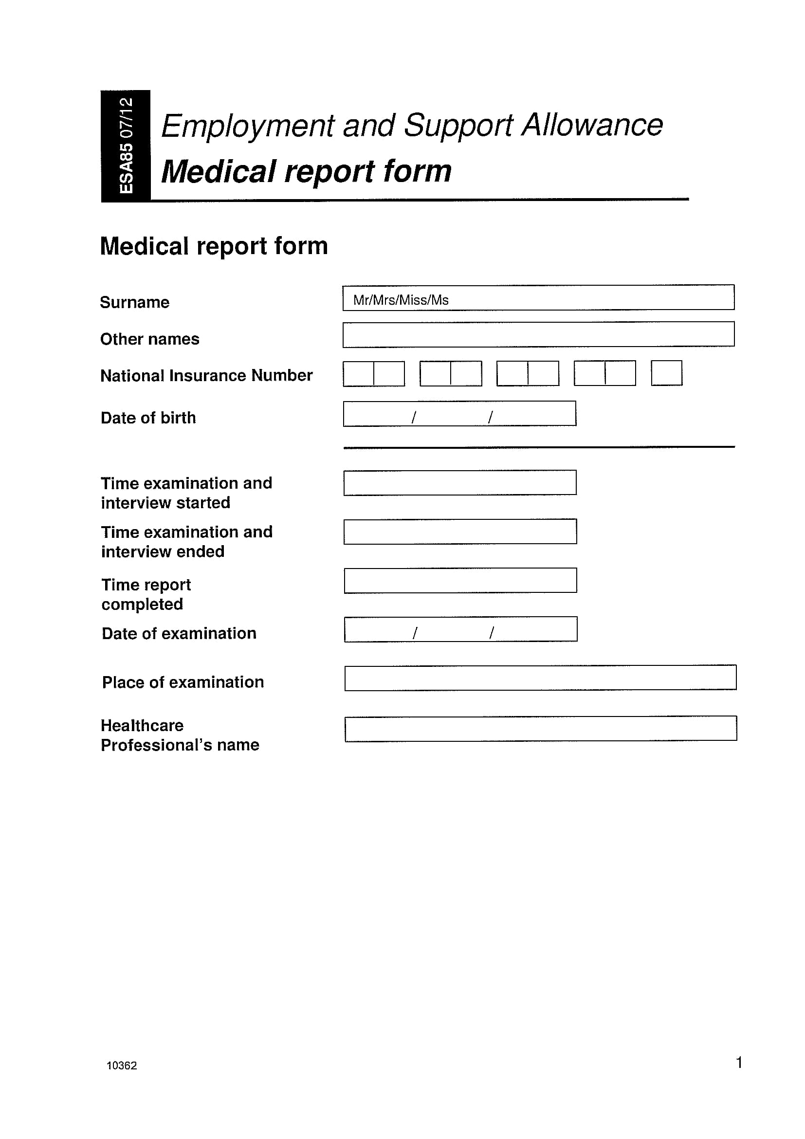 employment medical report form 01