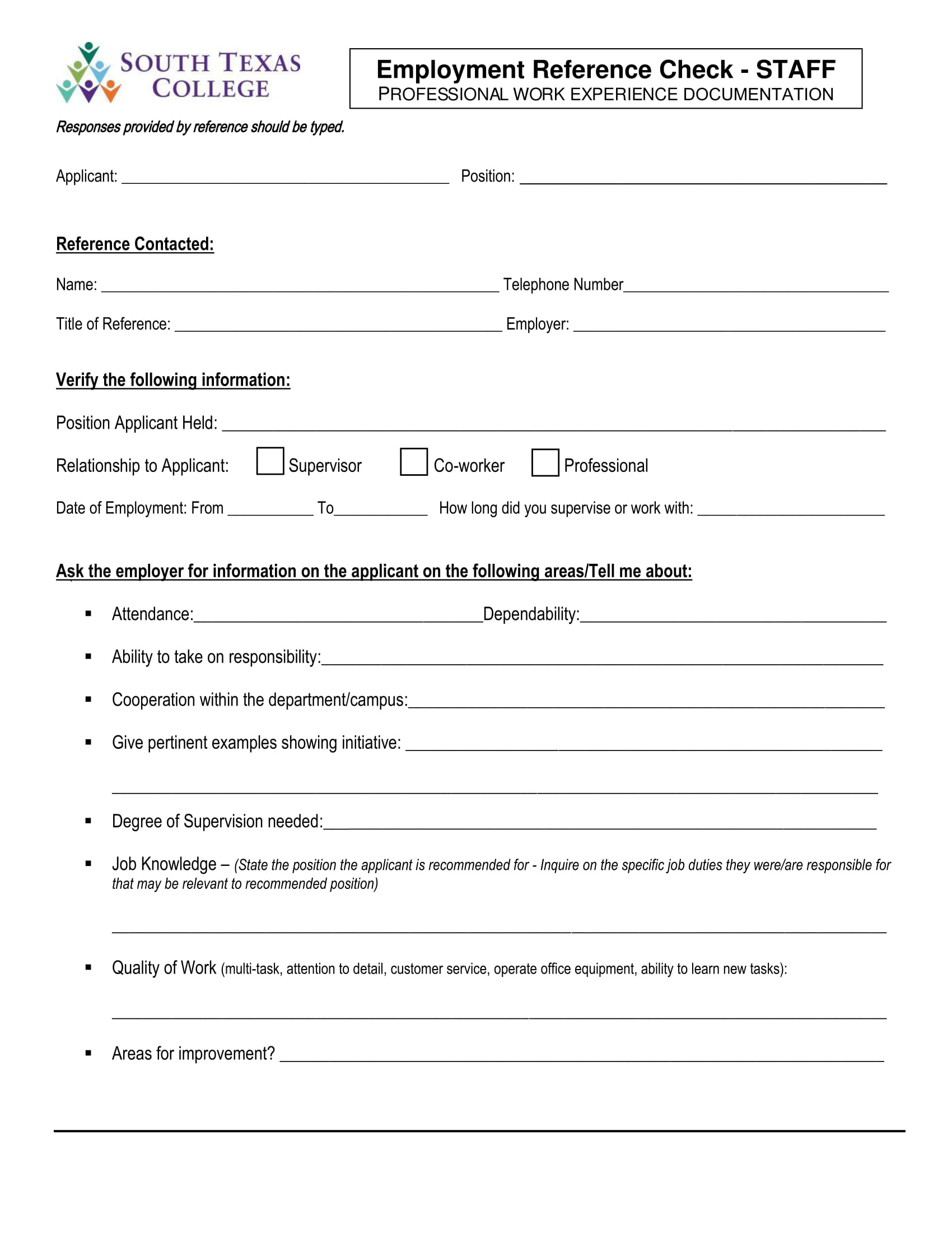 14 reference check forms free pdf format download for Employment reference check form template