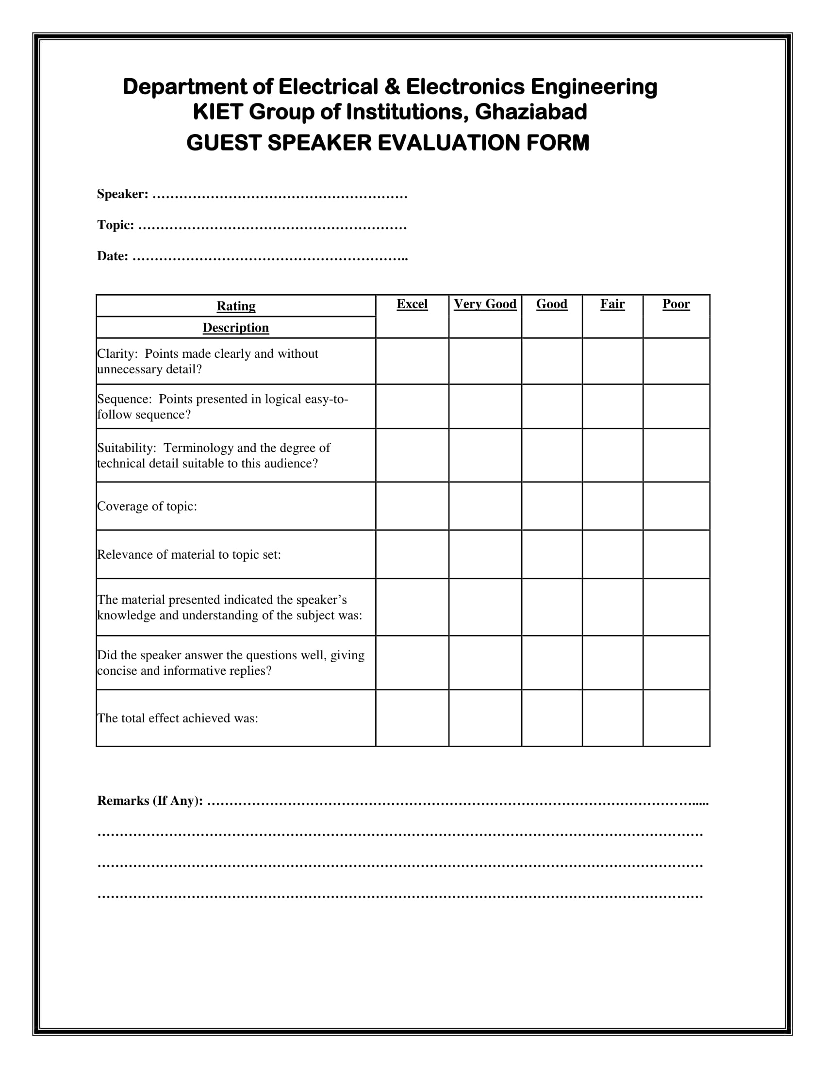Sample Feedback Form After Seminar Special Events Assistant Sample  Engineering Speaker Evaluation Form 1 Sample Feedback