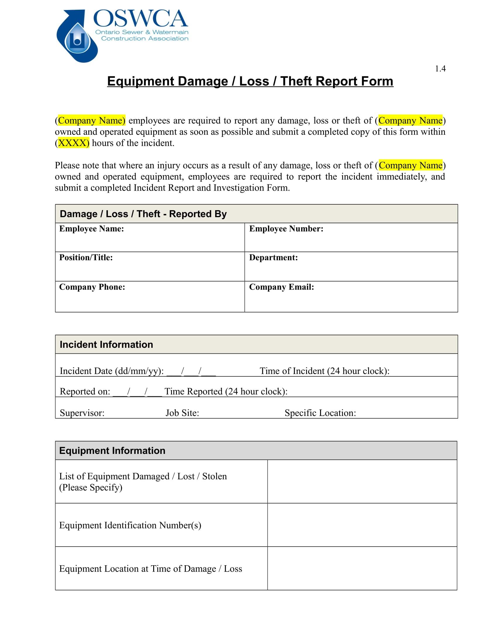 equipment damage report form 1