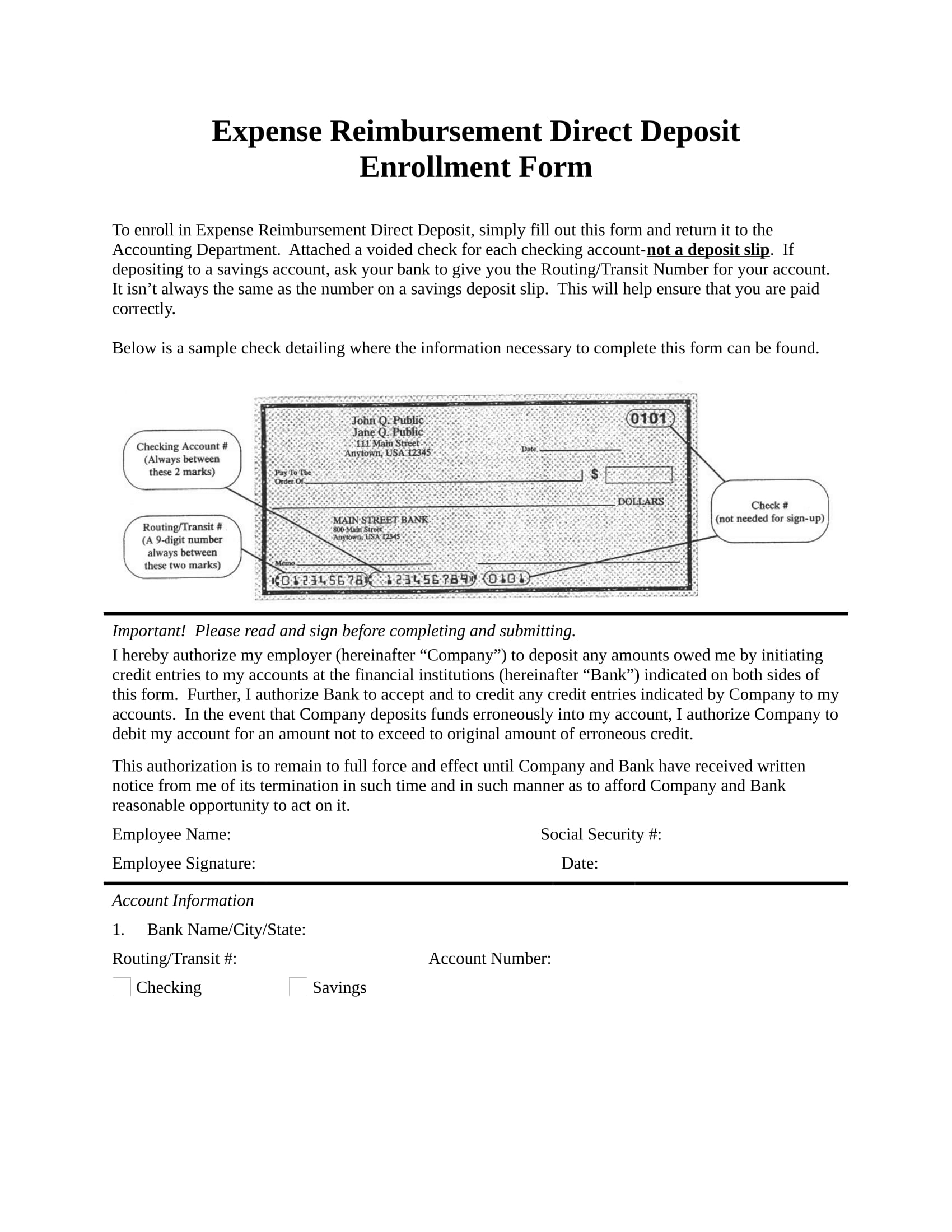 Expense Reimbursement Direct Deposit Enrollment Form Jpg 1700x2200 Print Template