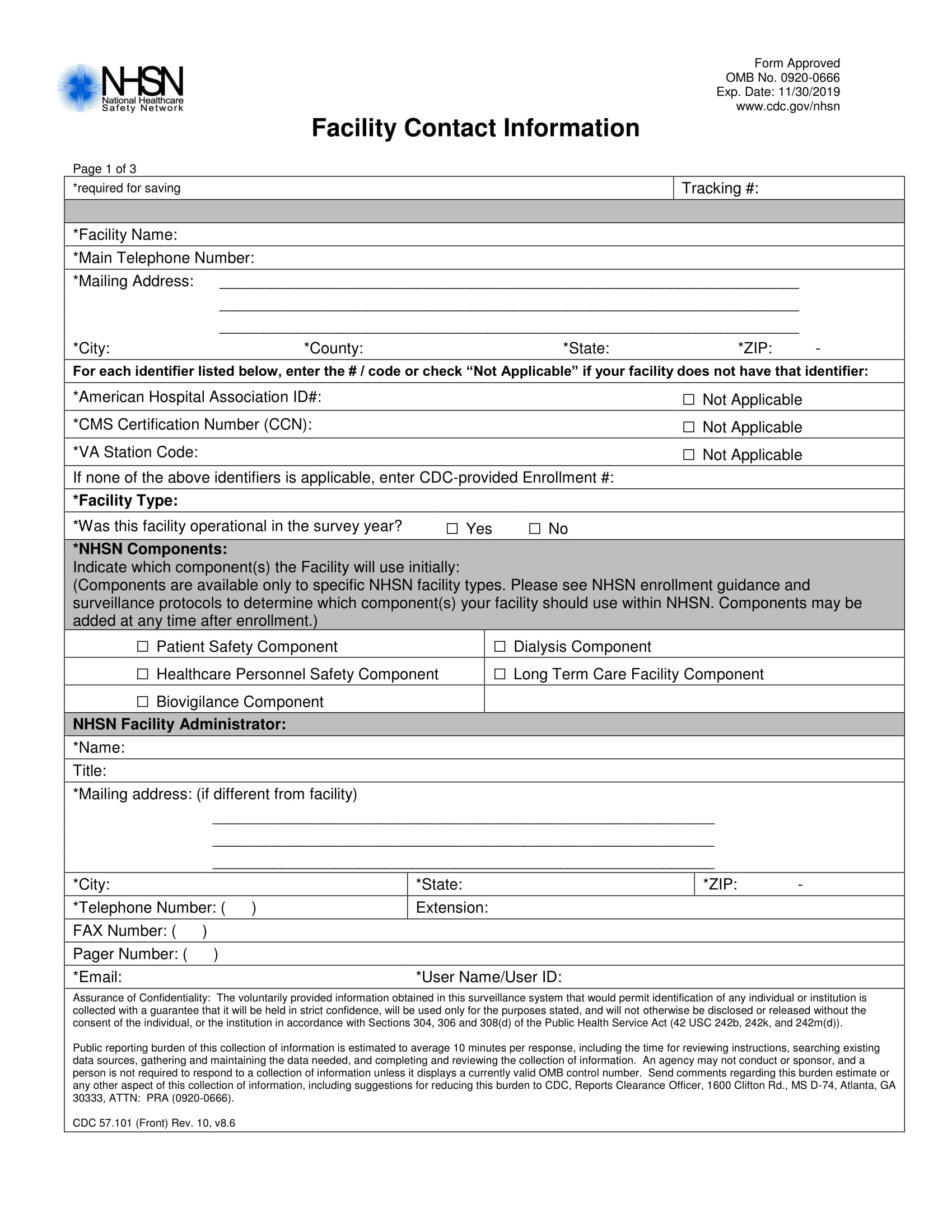 facility contact information form 1