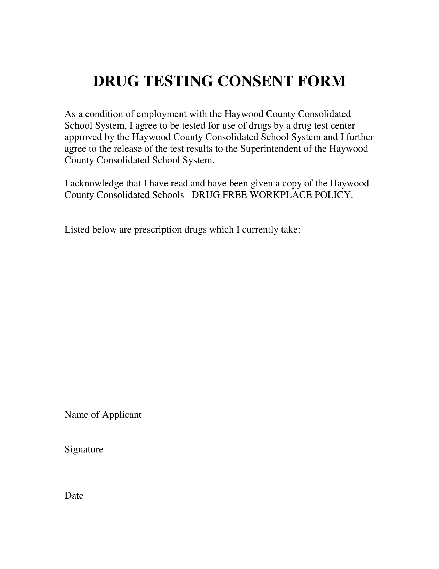 faculty drug test consent form 1