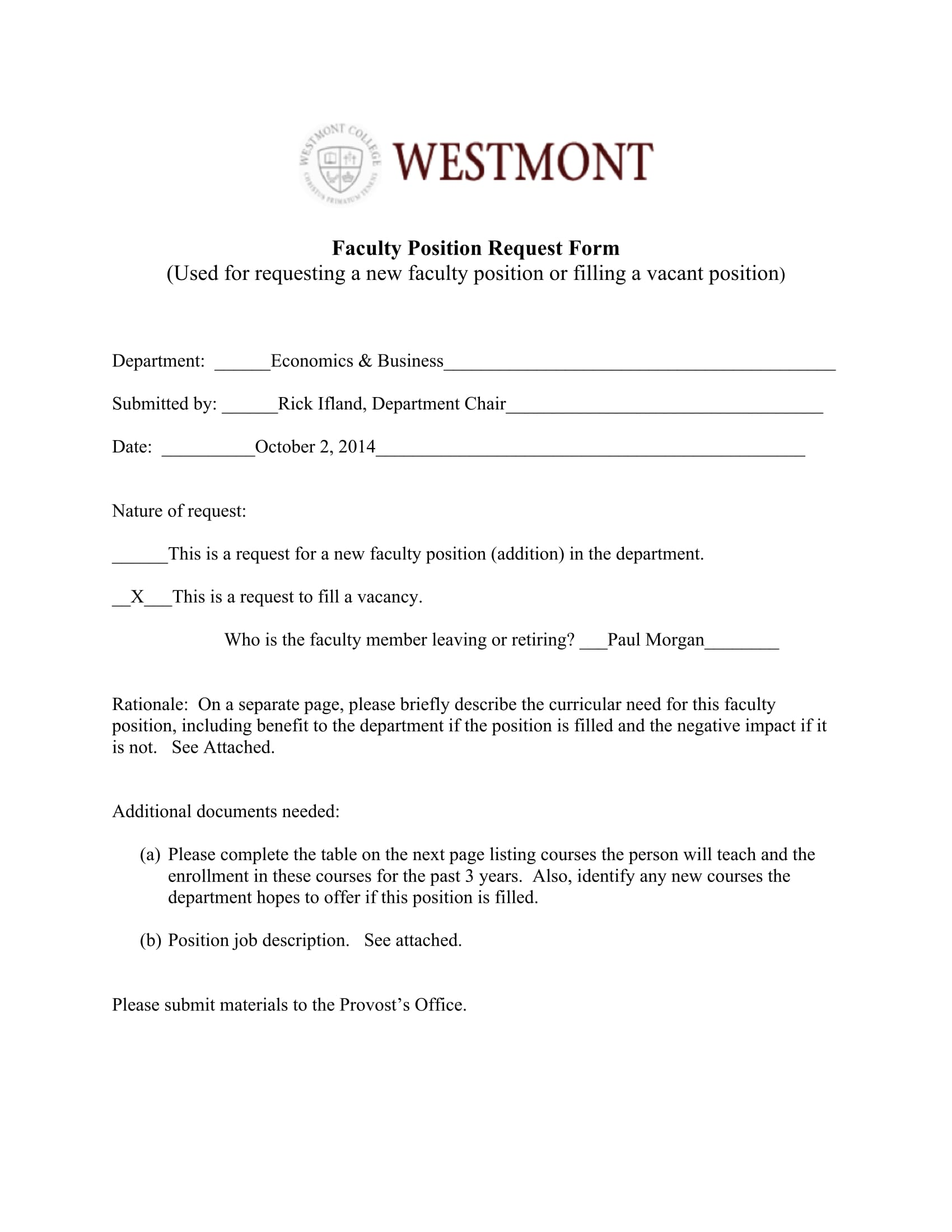 faculty position request form 1
