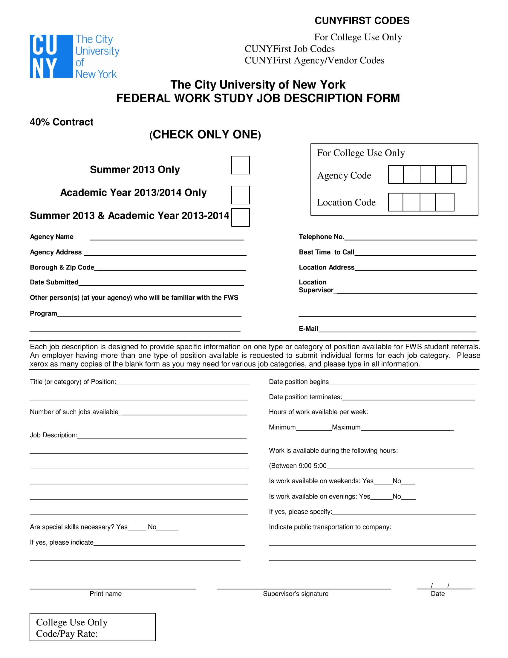 federal work study job description form 1
