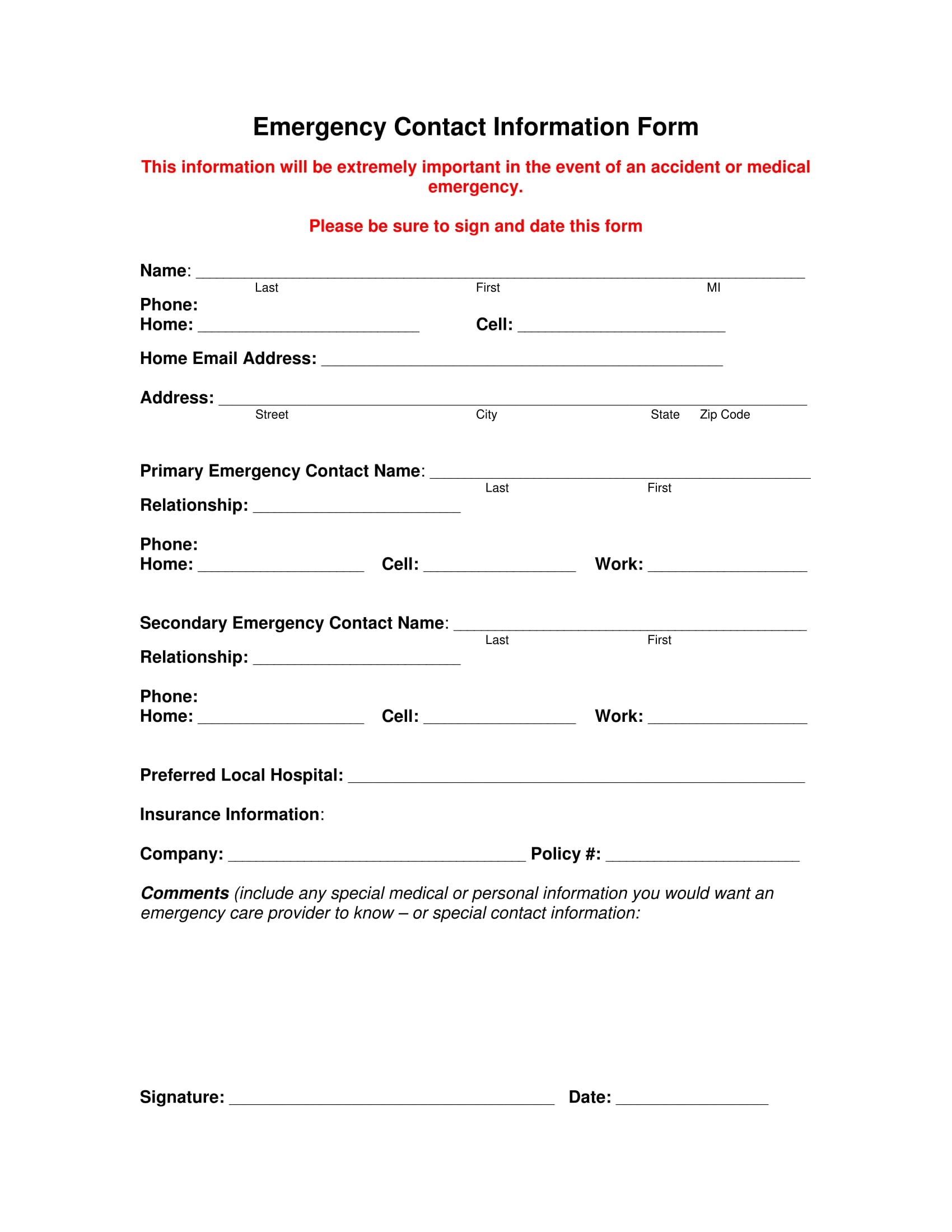 fillable emergency contact information form 1