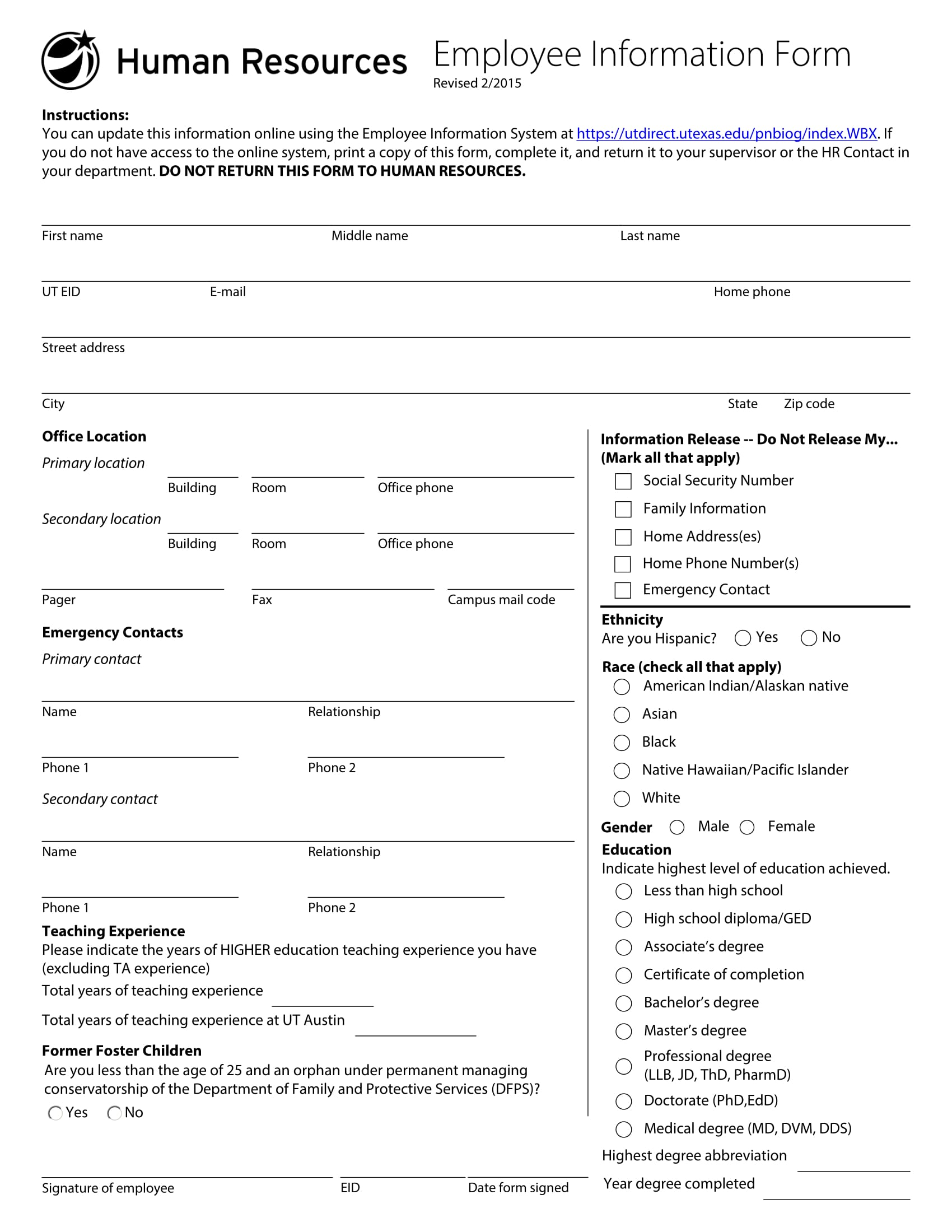 fillable employee information form 1