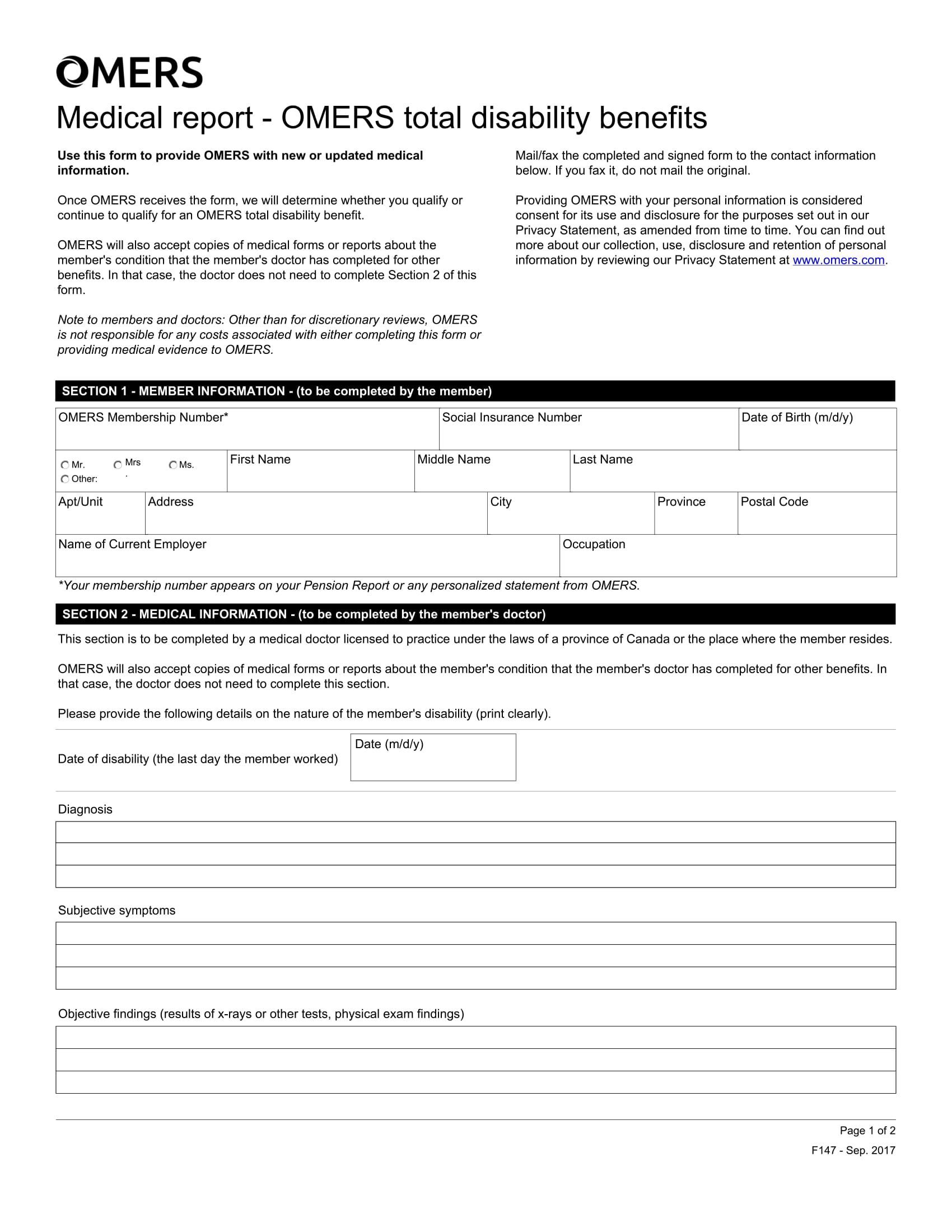 fillable medical disability report form 1