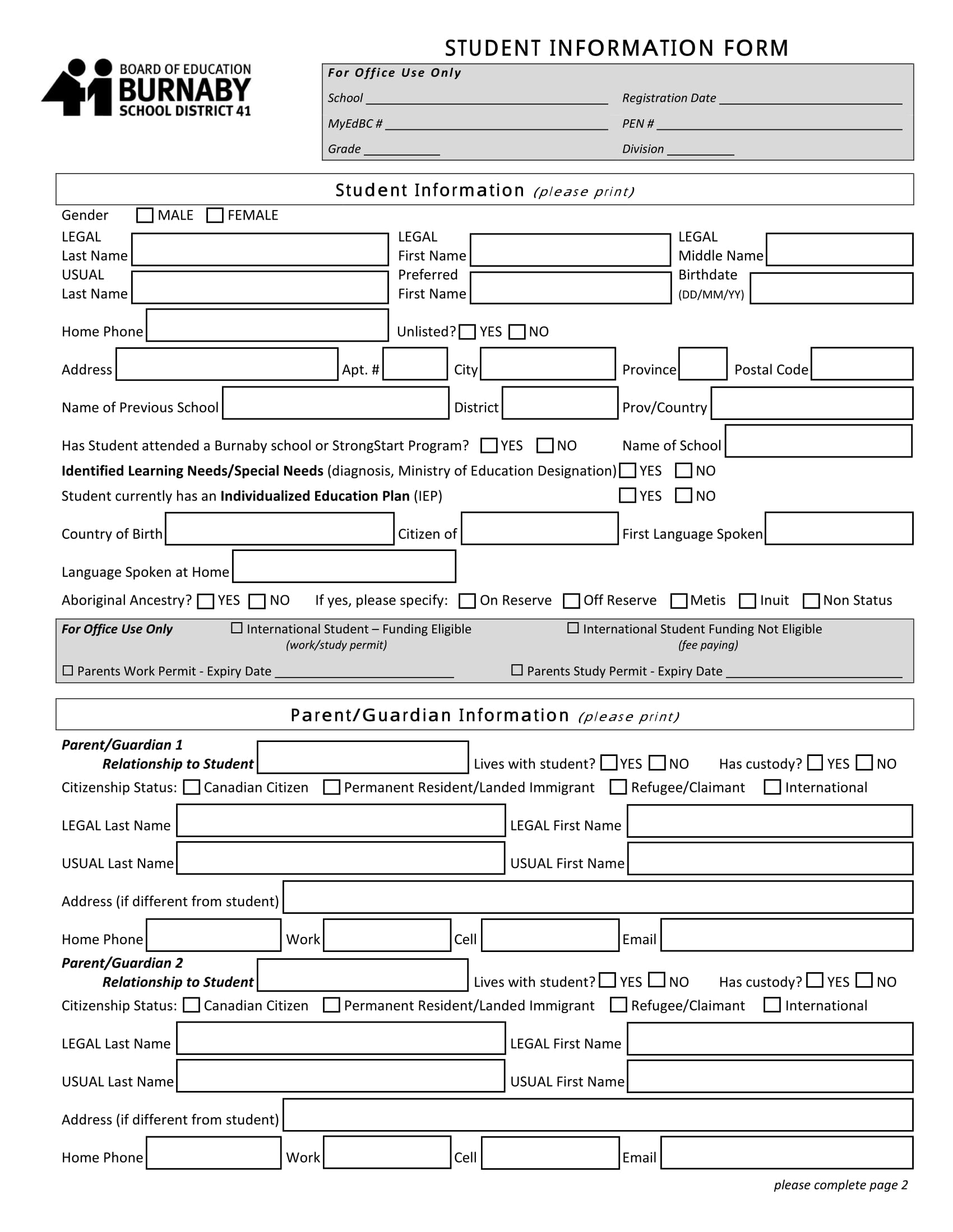 fillable student information form 1