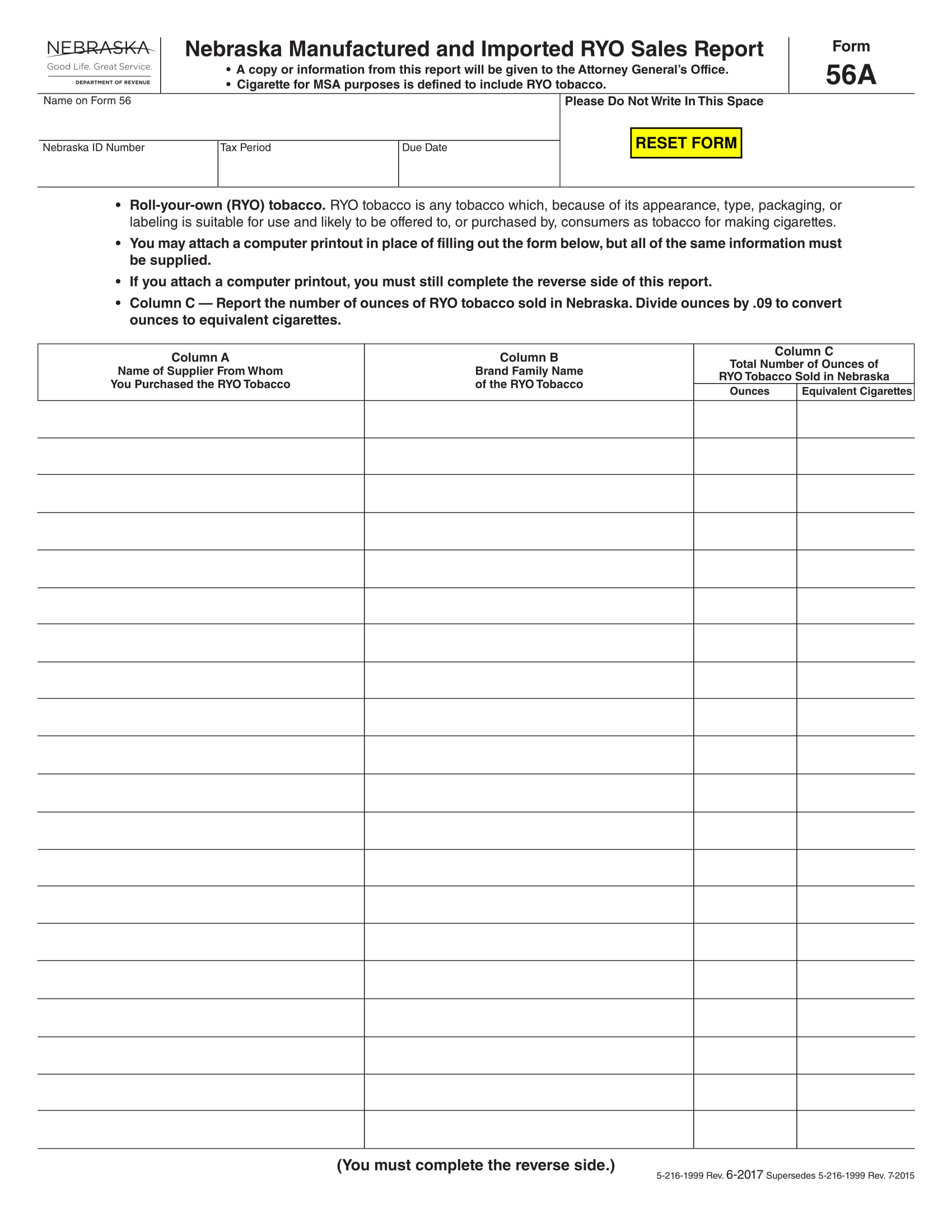 fillable tobacco sales report form 1