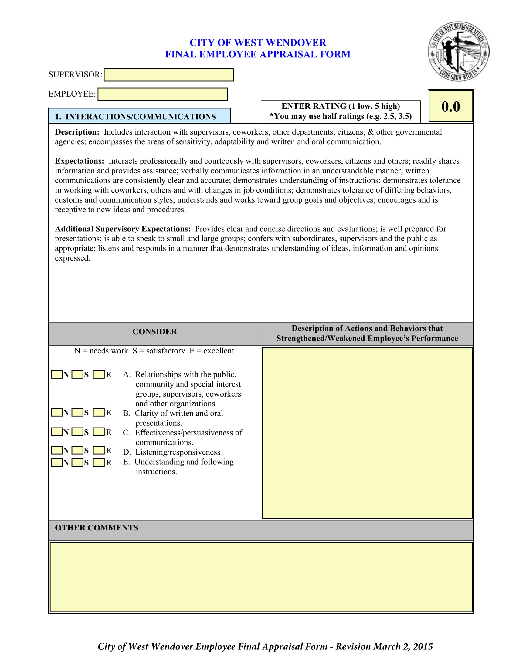 14 employee appraisal forms free word pdf xls format download final employee appraisal form falaconquin