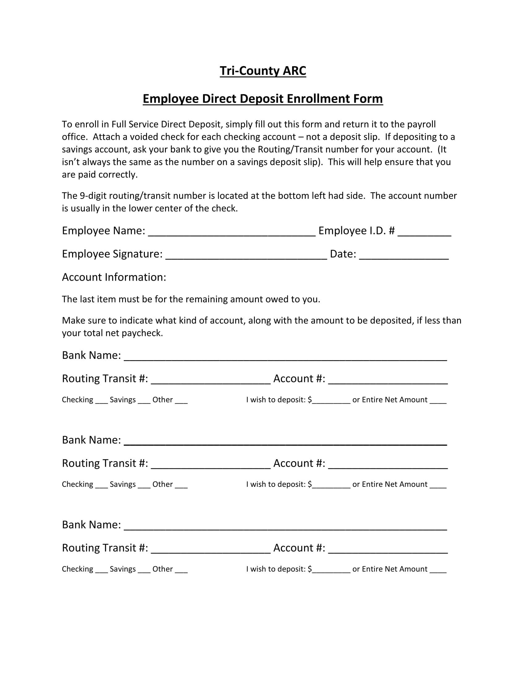 full service direct deposit enrollment form 1