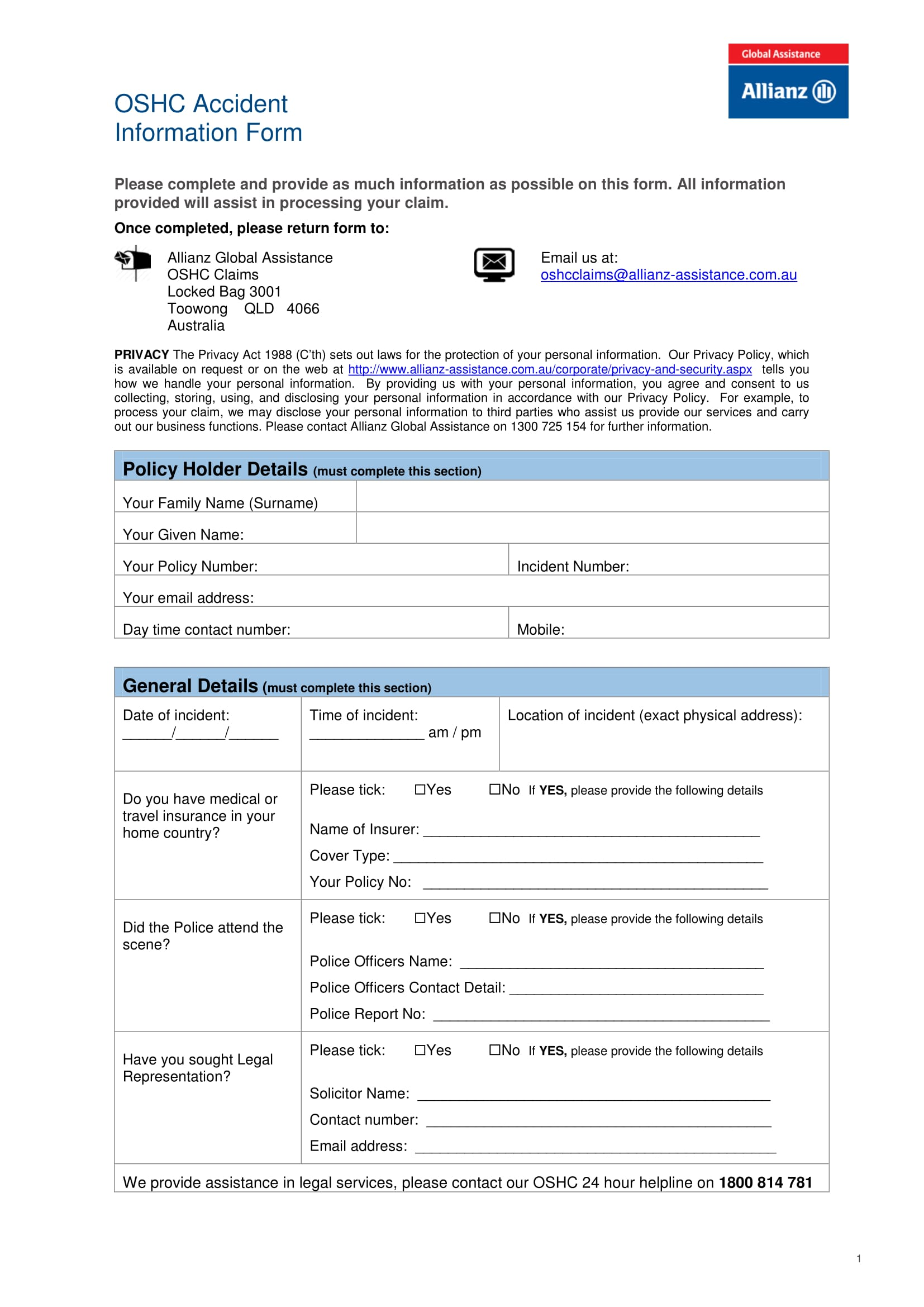general accident information form 1