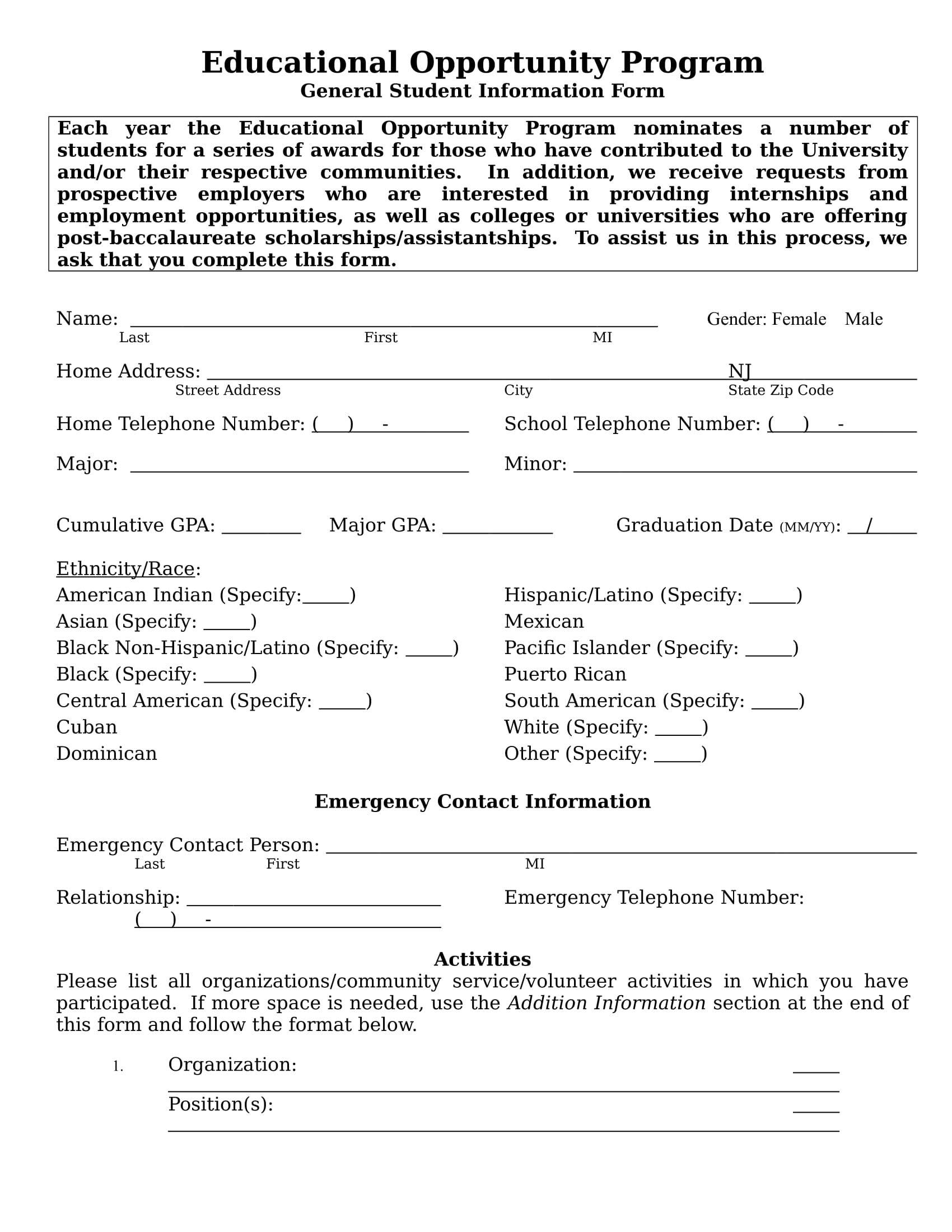 free 14  student information forms in ms word