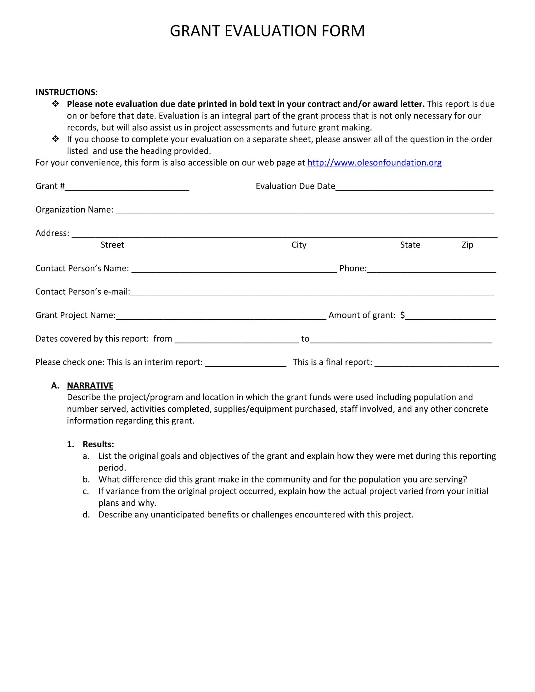 grant evaluation form sample 1