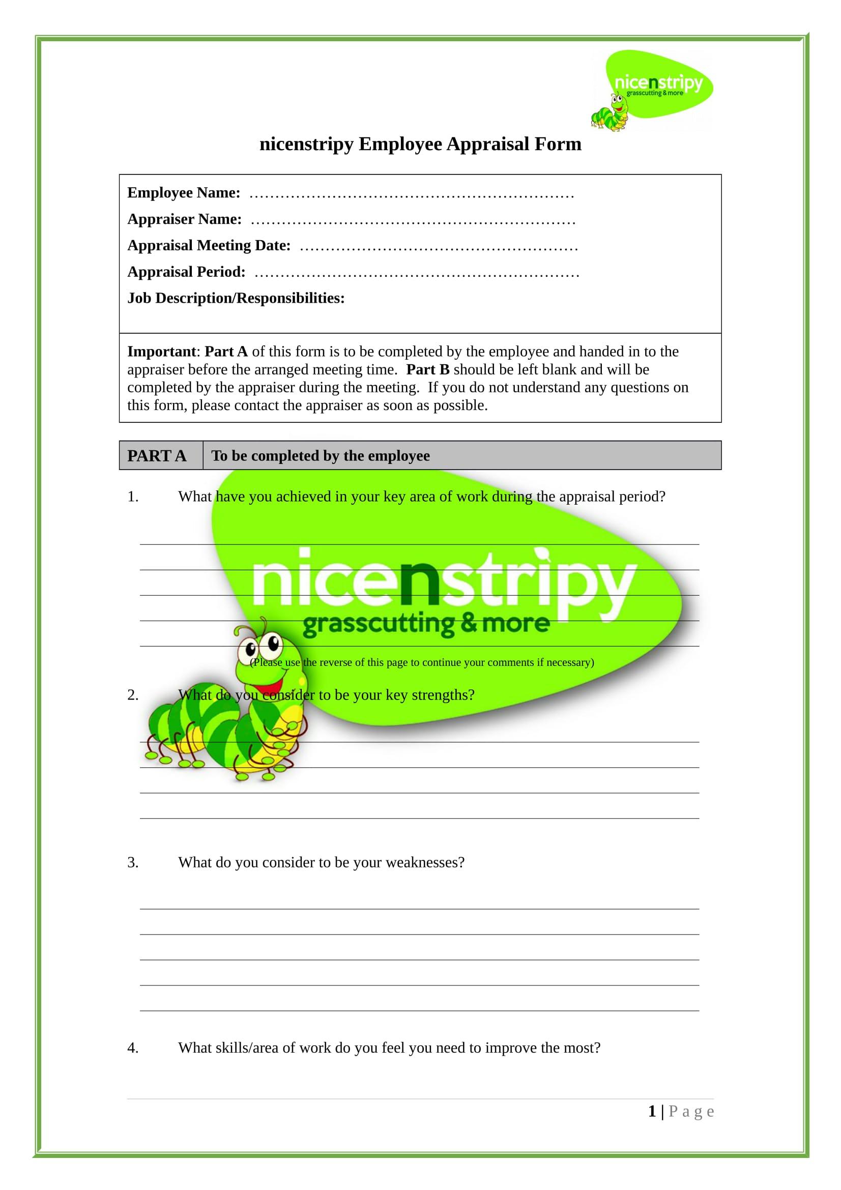 employee appraisal forms