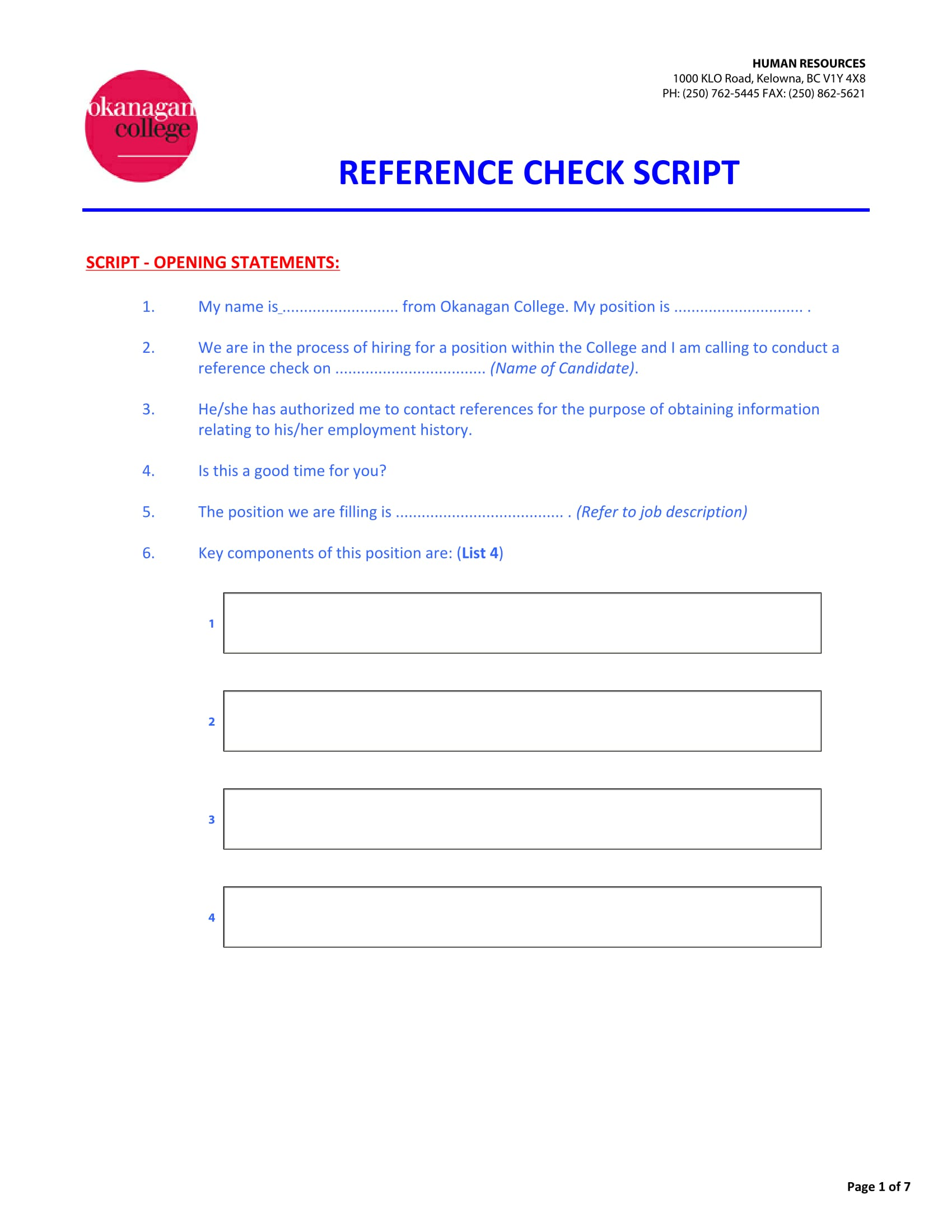 hr reference check script form 1