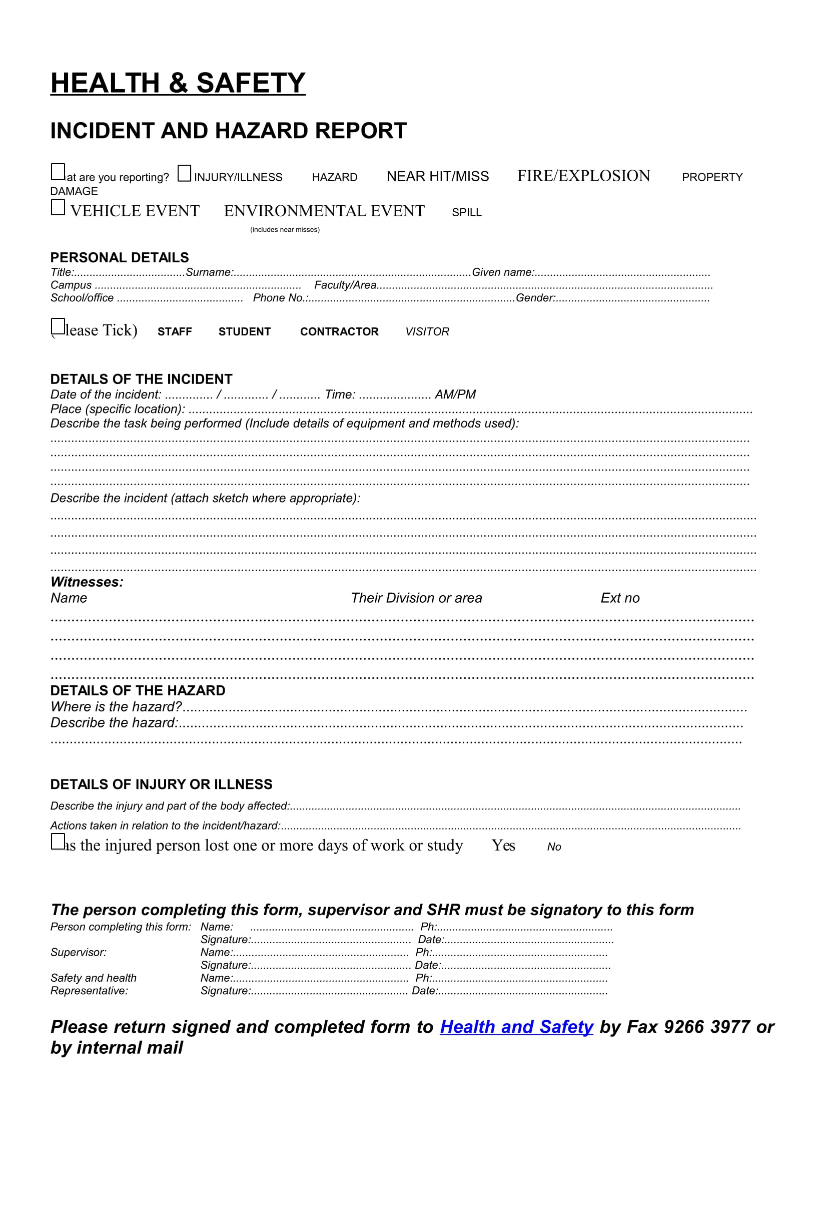 incident and hazard report form 1