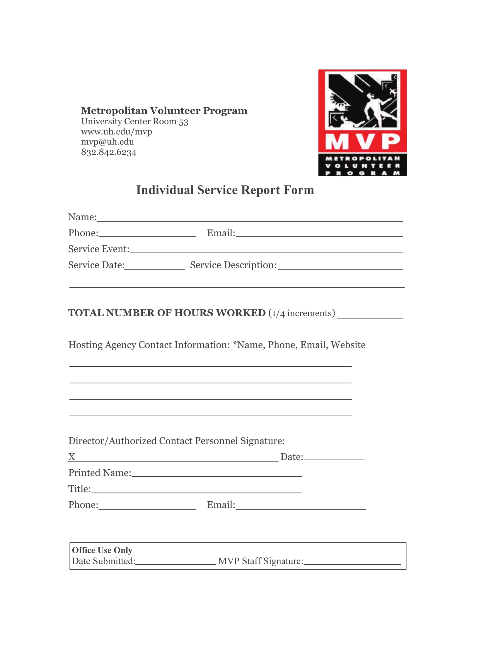 individual or volunteer service report form 1