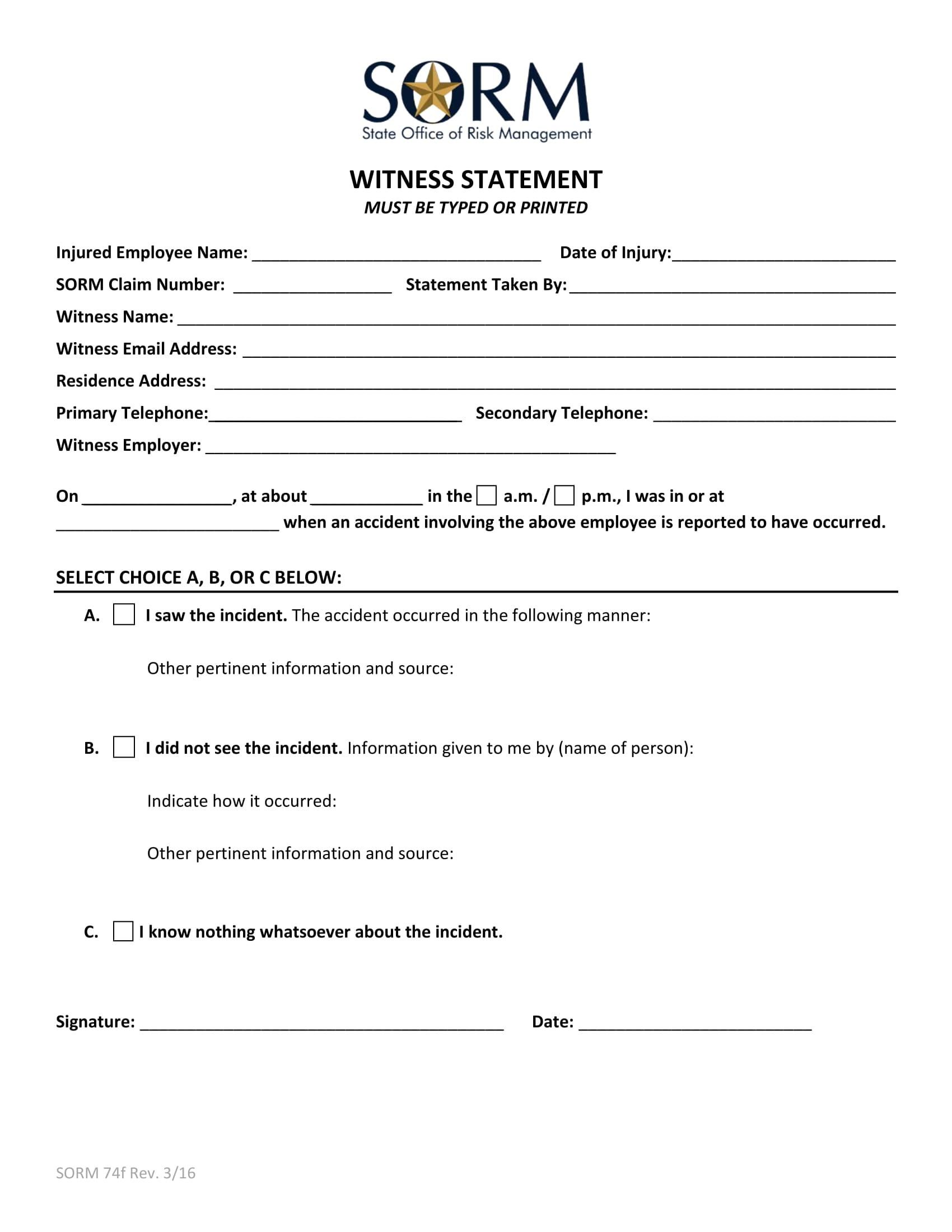 injured employee witness statement form 1